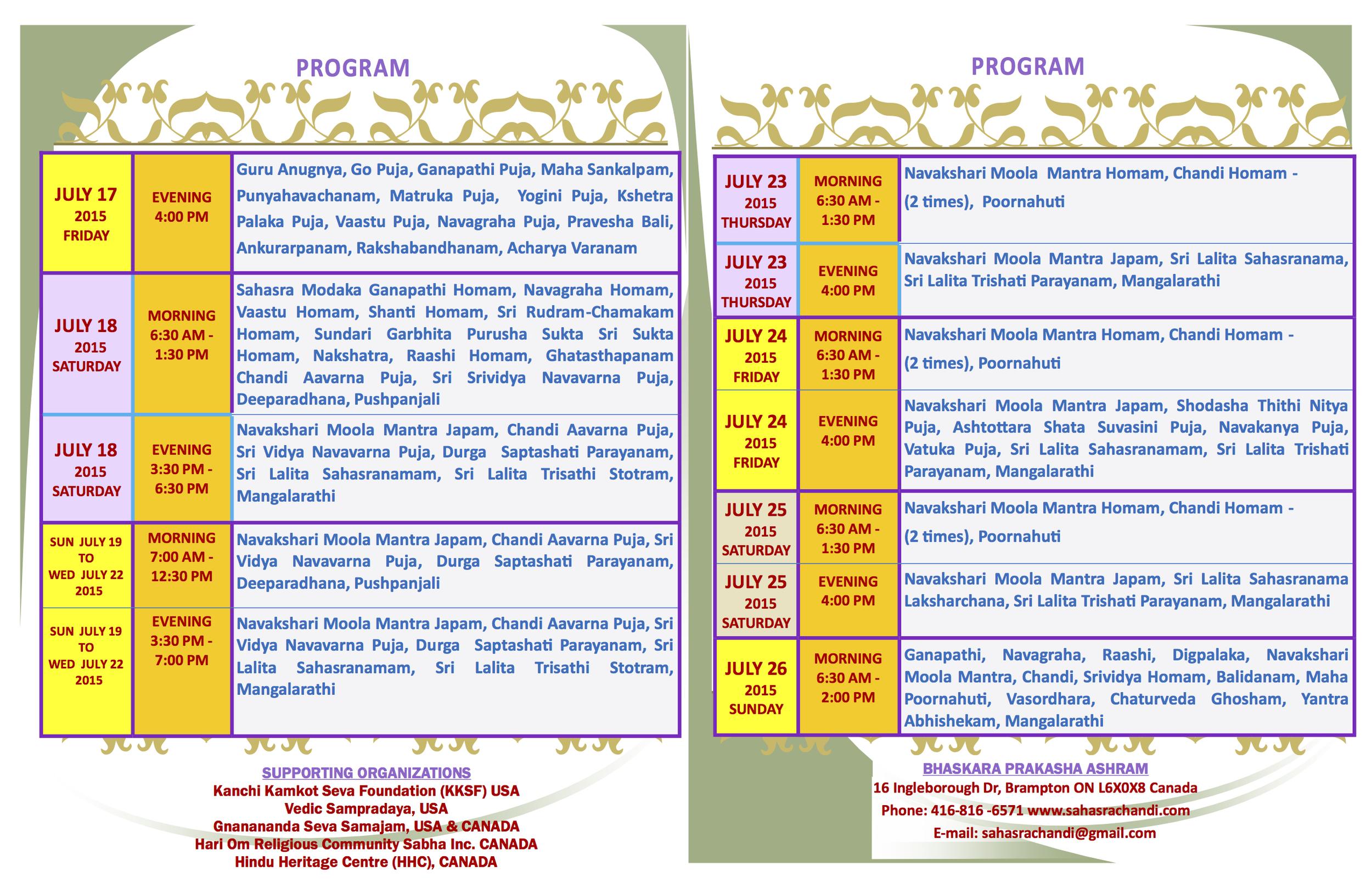 SahasraChandi Schedule