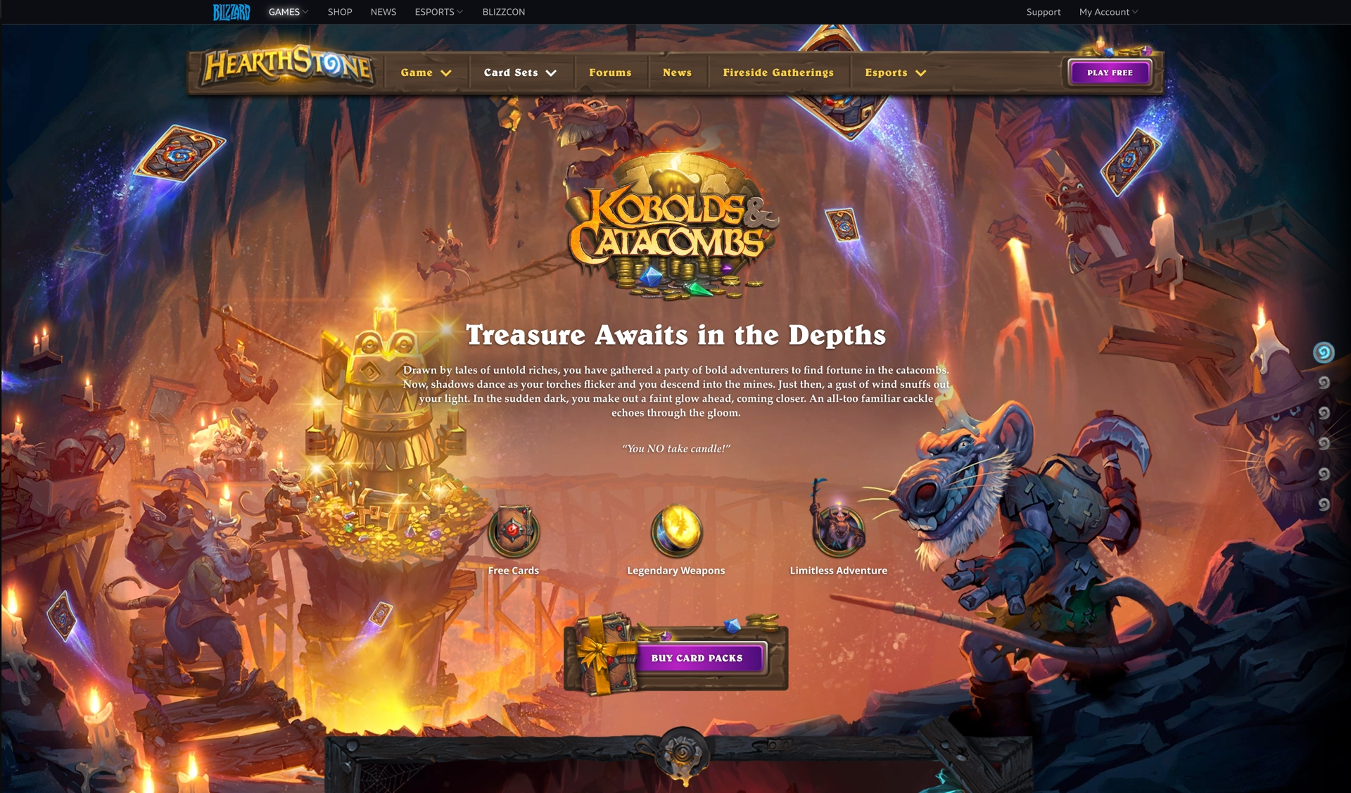 Intro + Video Carousal  - Watching in-game videos and hearing top talent discuss new cards or mechanics makes viewers more excited for expansion content.  - The landing page is long with multiple sections. We create a sidebar menu help user jump through different sections.