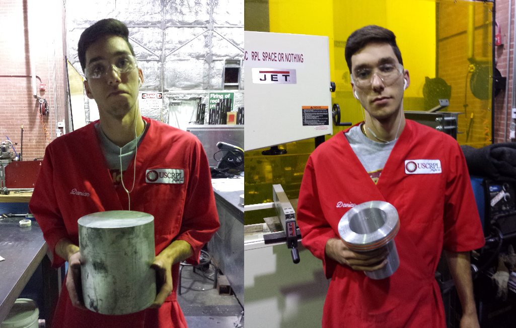 Turn Down for What: Sophomore Damian Balla turns down a 7 ½ aluminum block into a shiny nozzle carrier. (Not pictured: the hours of work in between these two photos)