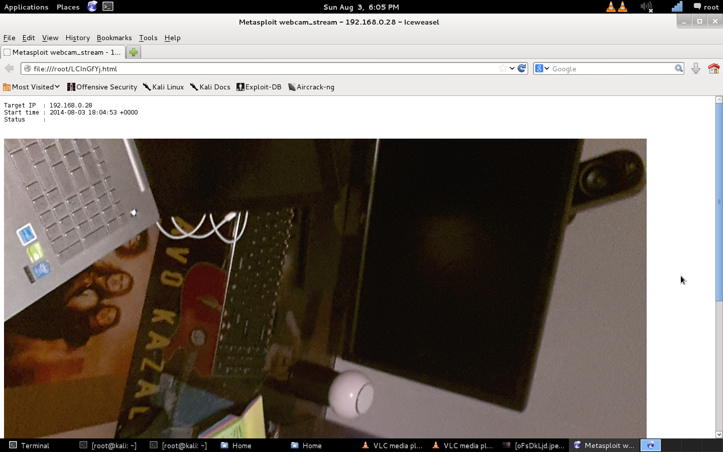 Here's an example of a Metasploit camera stream in action.