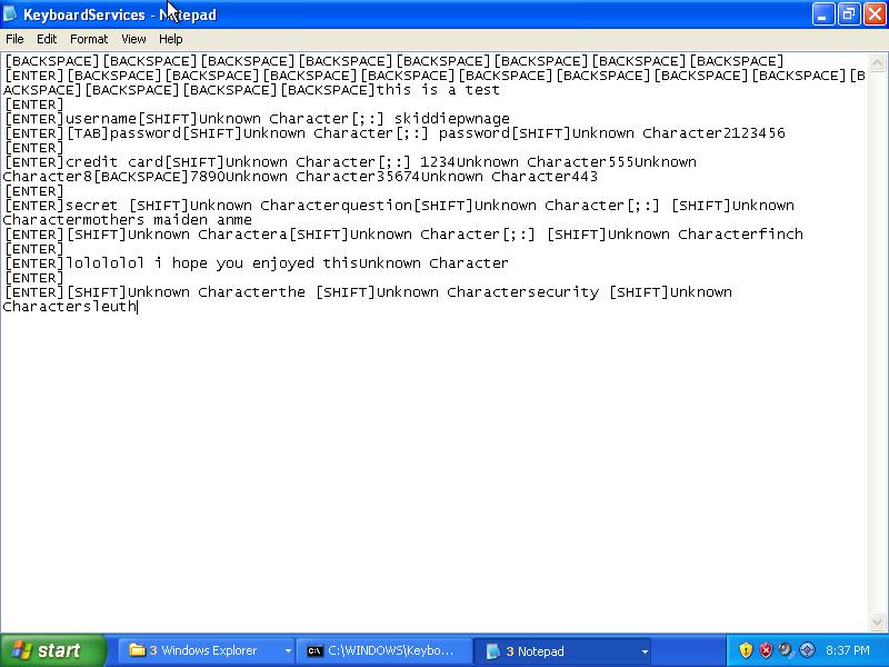 My sample keylogger output.