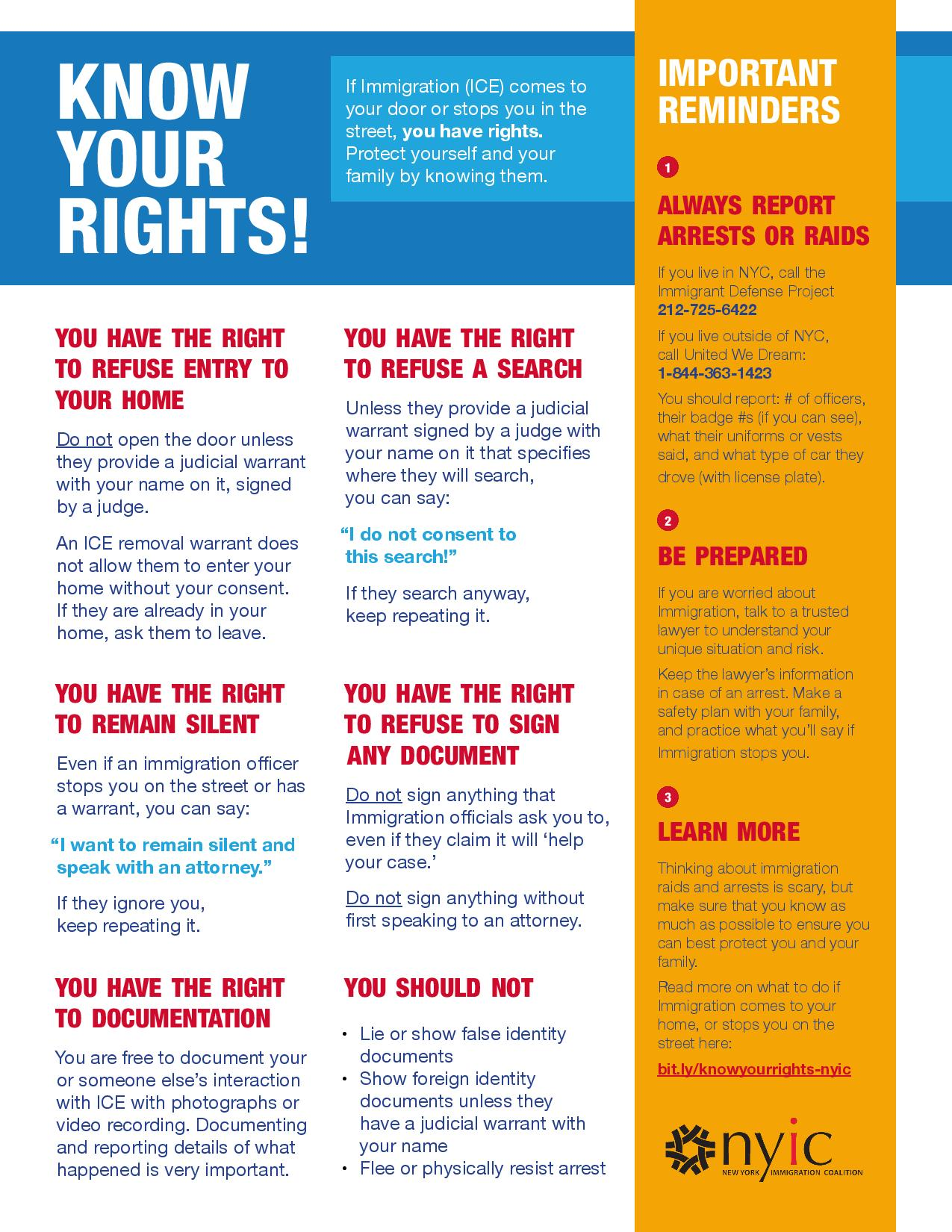 NYIC's Know Your Rights graphic
