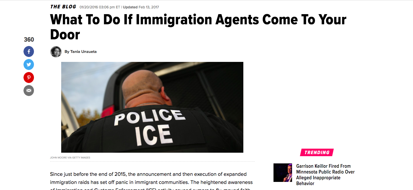 "Tania Unzueta's ""What To Do If Immigration Agents Come To Your Door"" for Huffington Post"