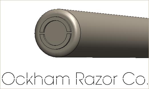 Monogram on the end of the razor handle