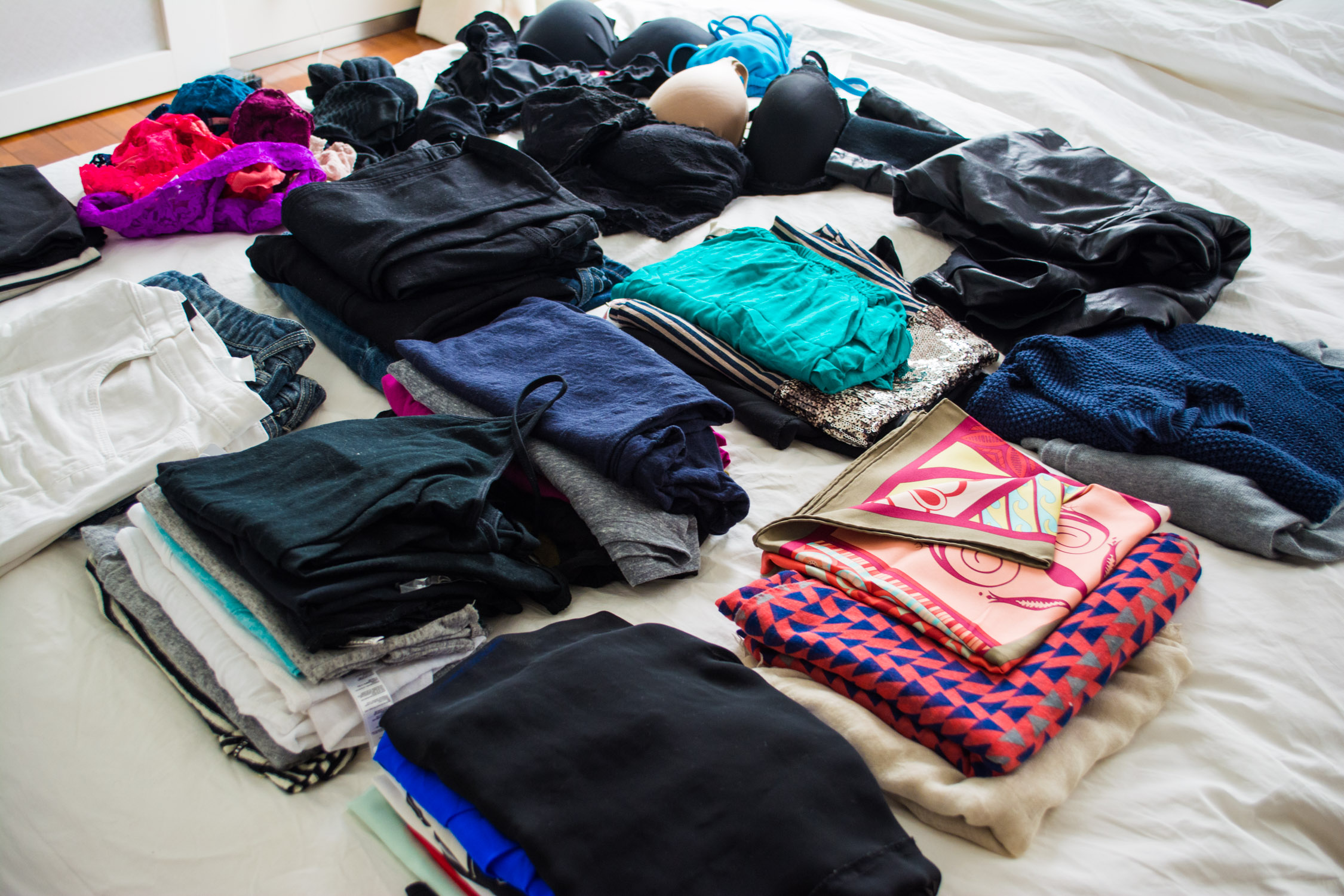 All the clothes Danika brought through Asia and Indonesia...and yes it all fit in her backpack.