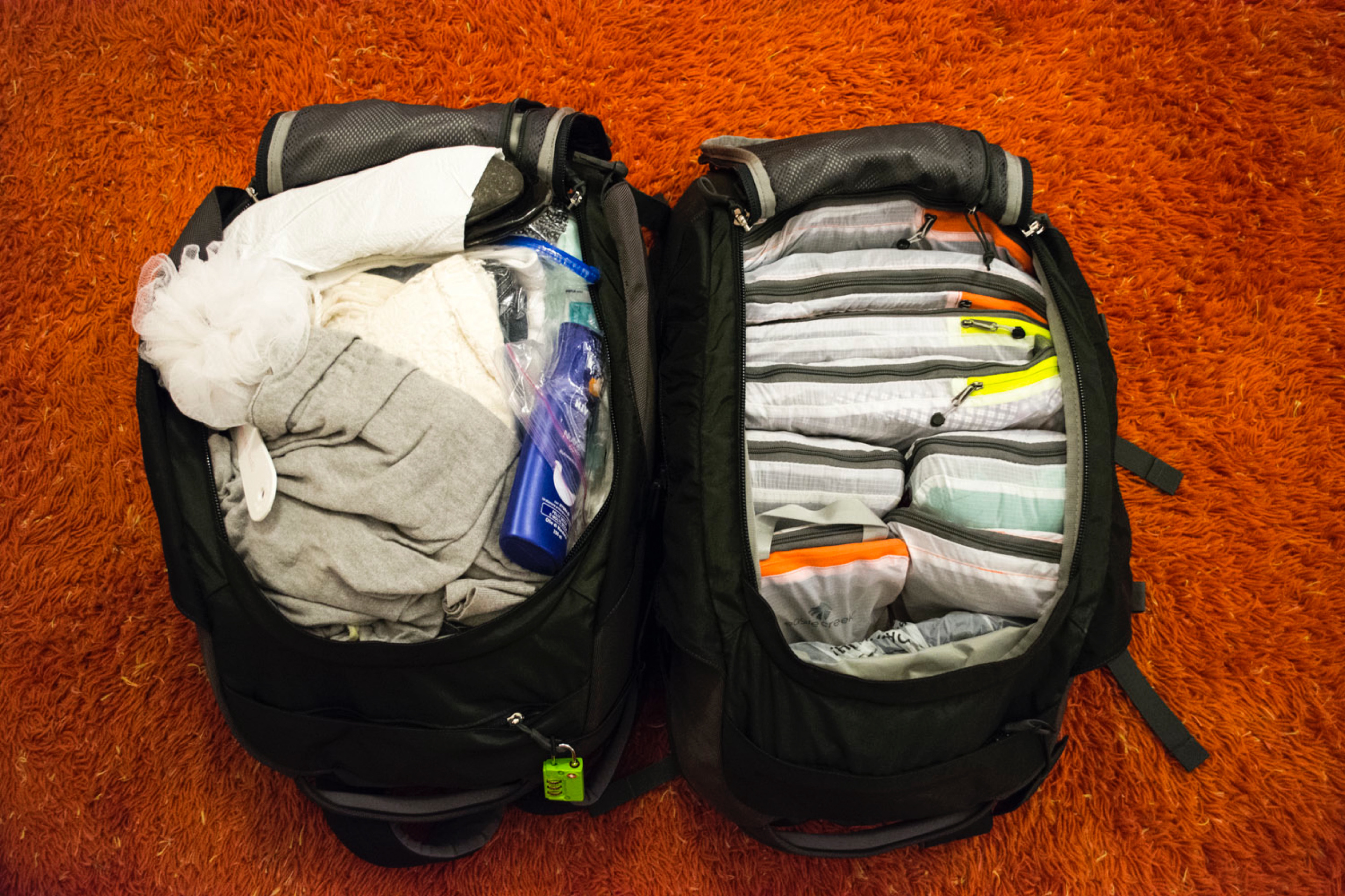 Our bags packed while in Florence. Guess which one belongs toChris?