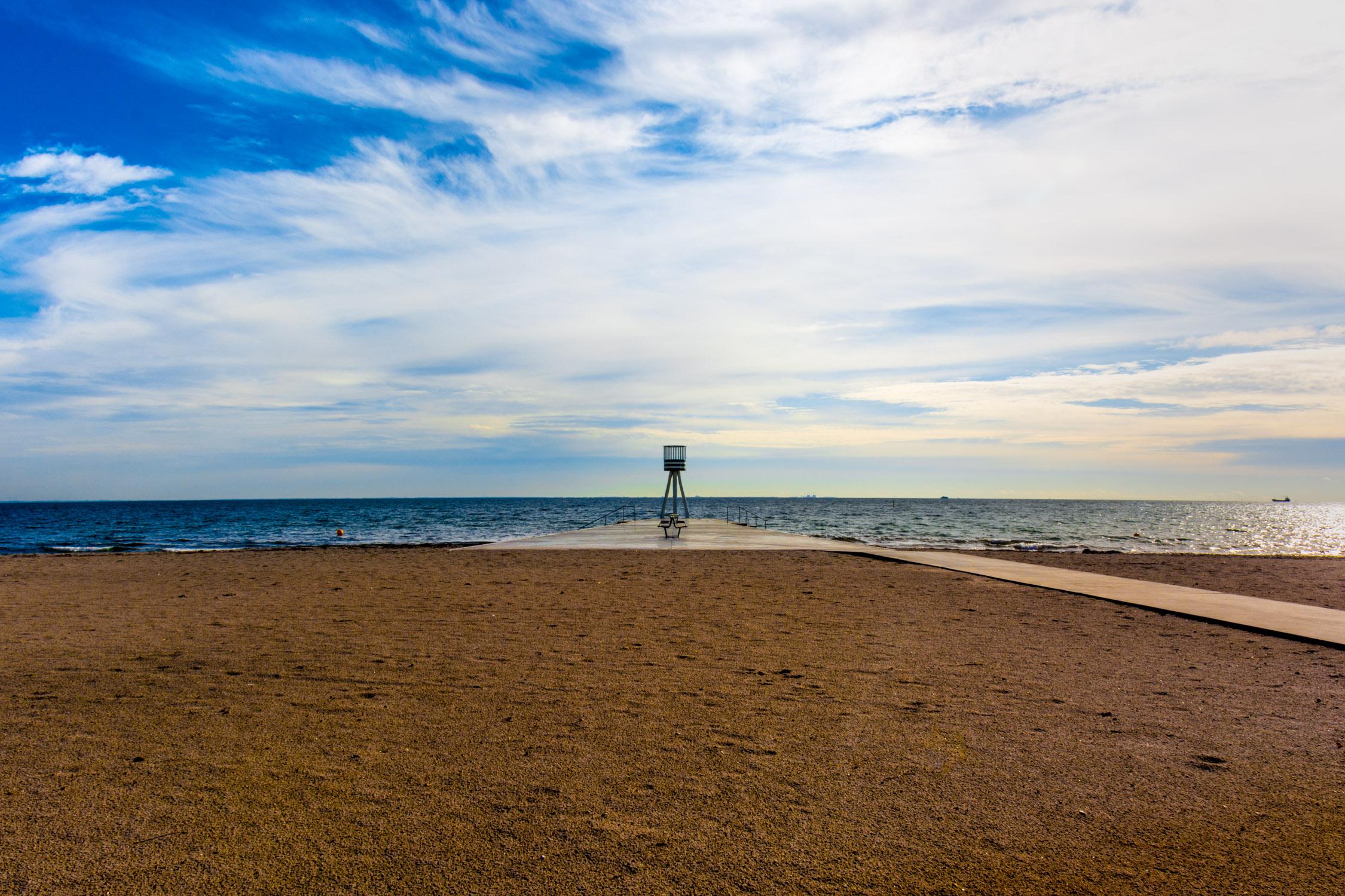 Walking along the beach near Skovshoved Hotel