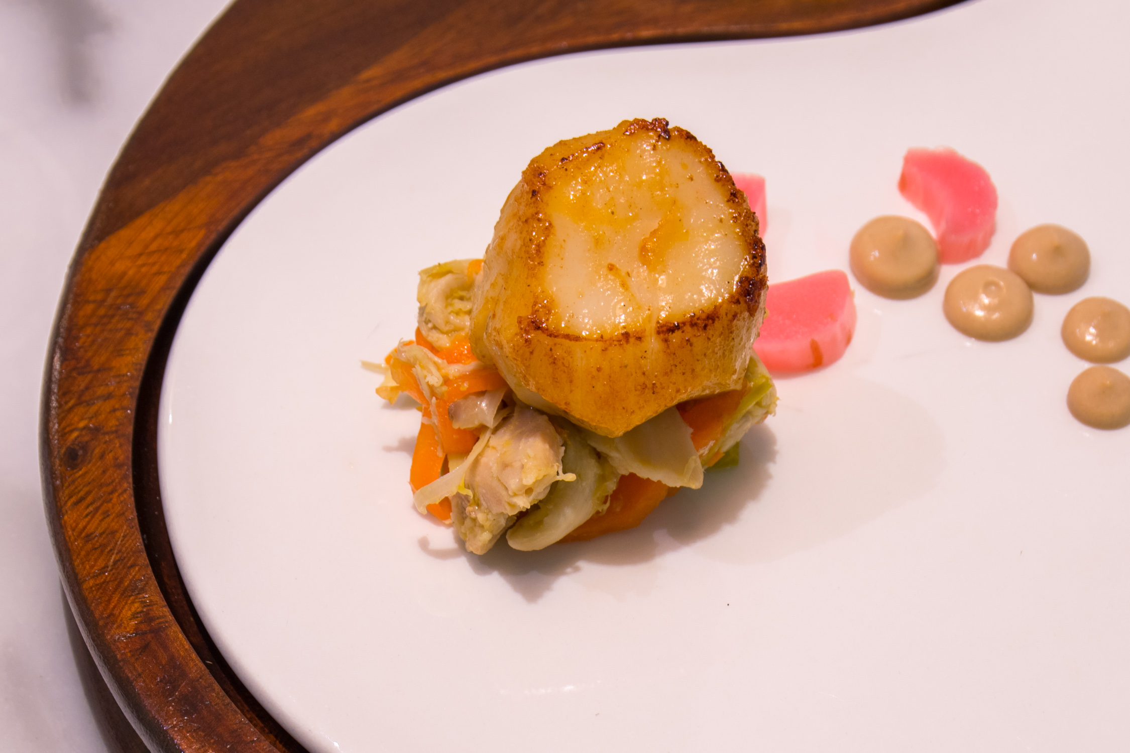 Dining at the Brasserie, inside The Marker...a suprising twist of scallops and rabbit