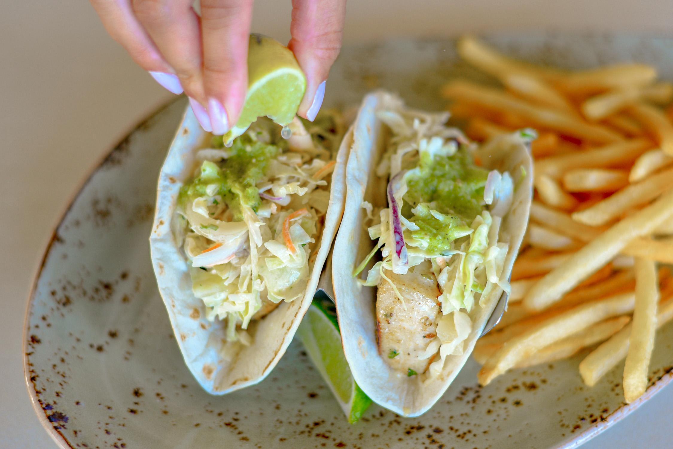 Fish tacos from Ocean Bar & Grill