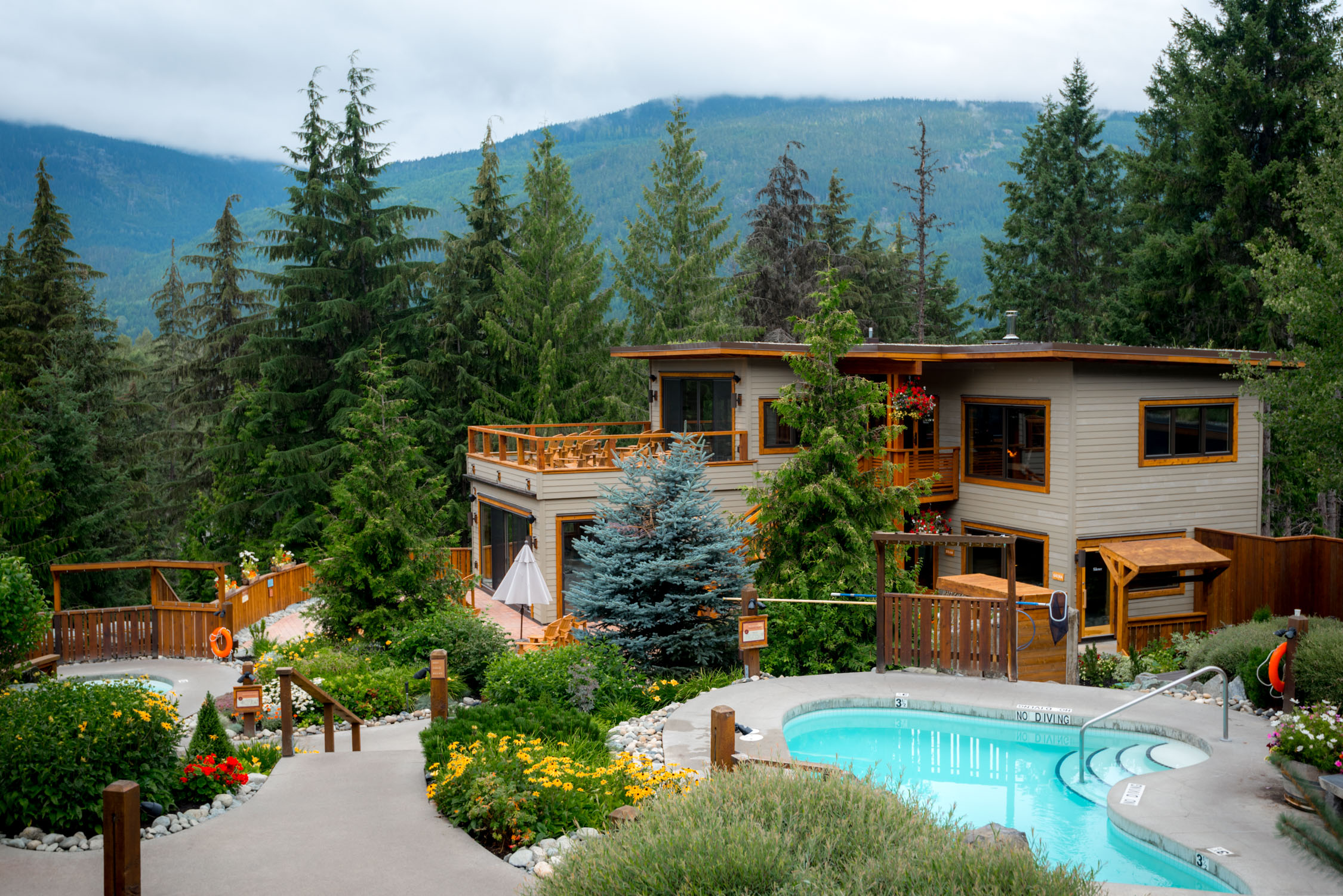Looking over Scandinave Spa in Whister, Canada