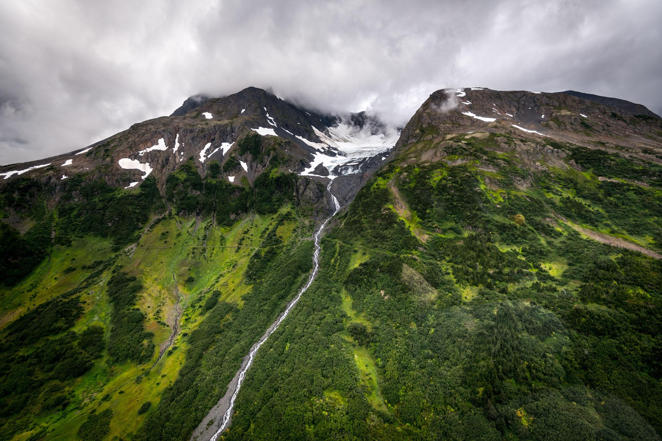 Glacier topped mountains surround  Girdwood, Alaska