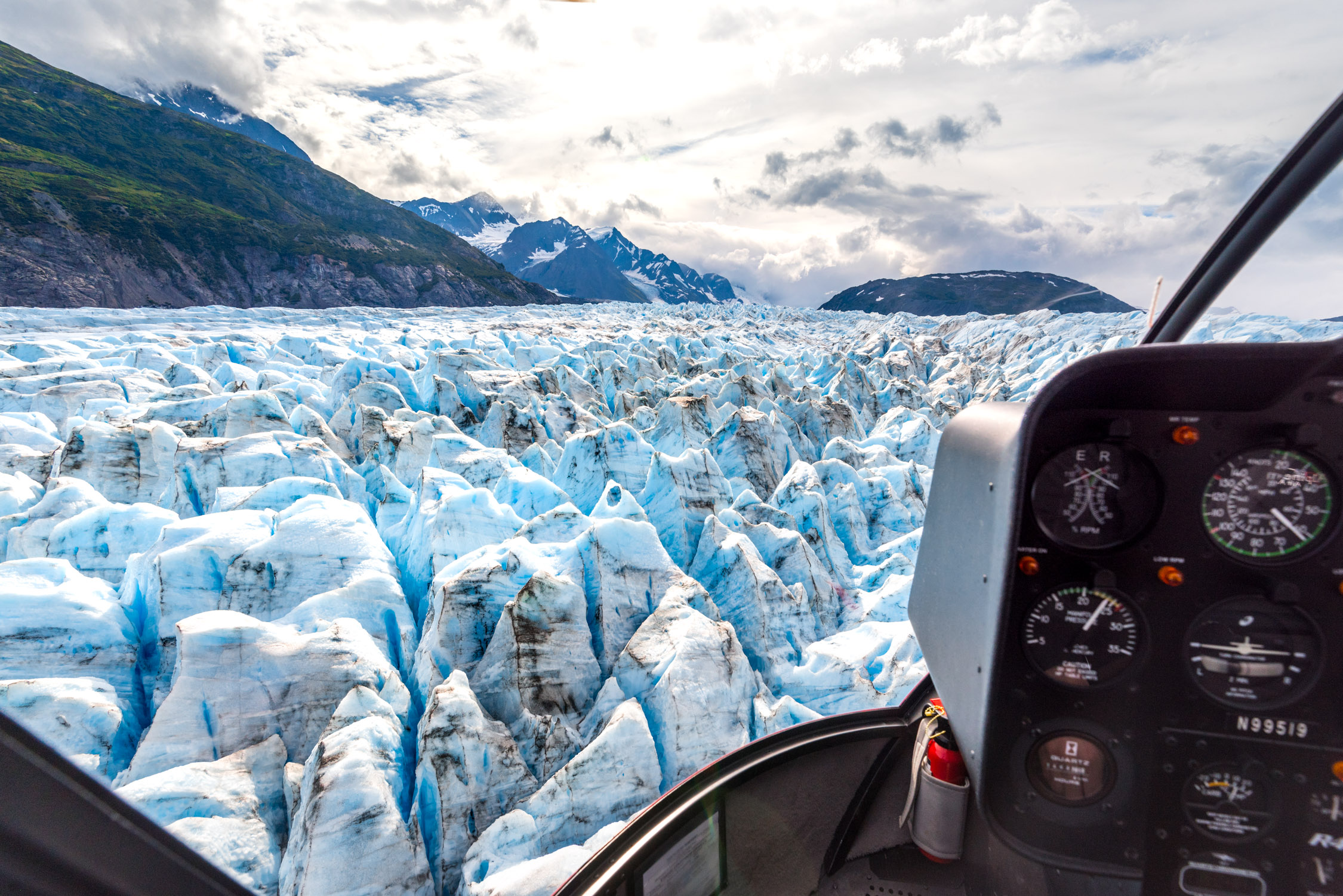 Looking over glaciers from our helicopter tour