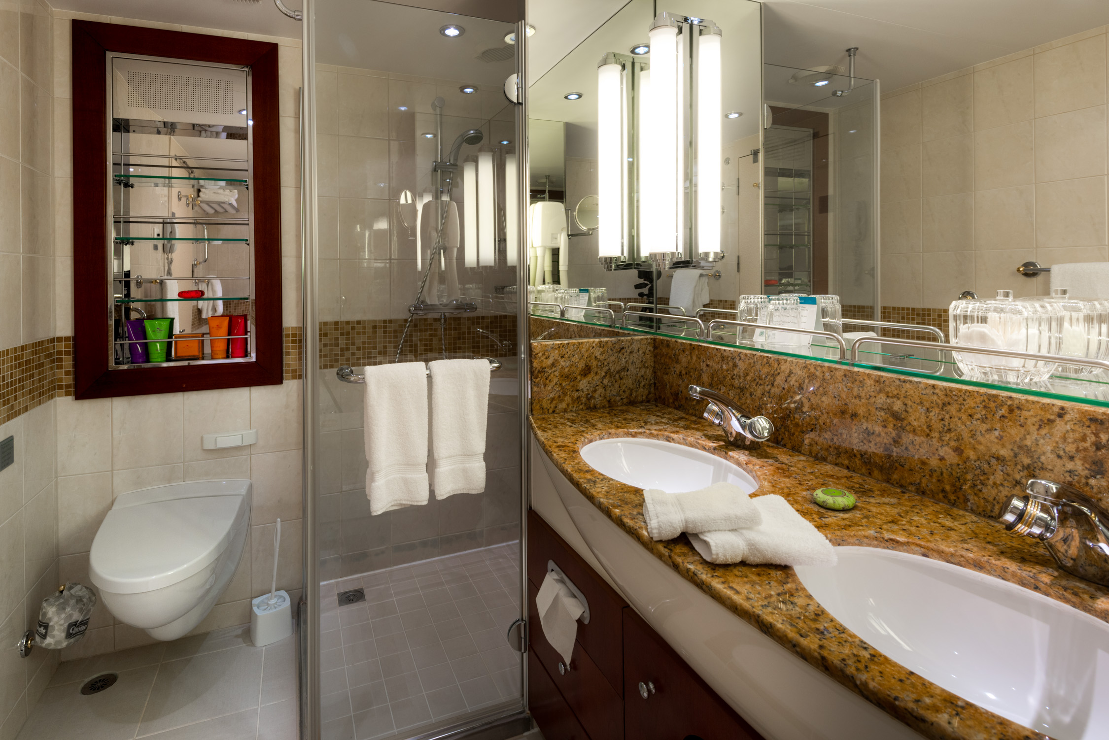 The bathroom inside our suite aboard Crystal Cruises