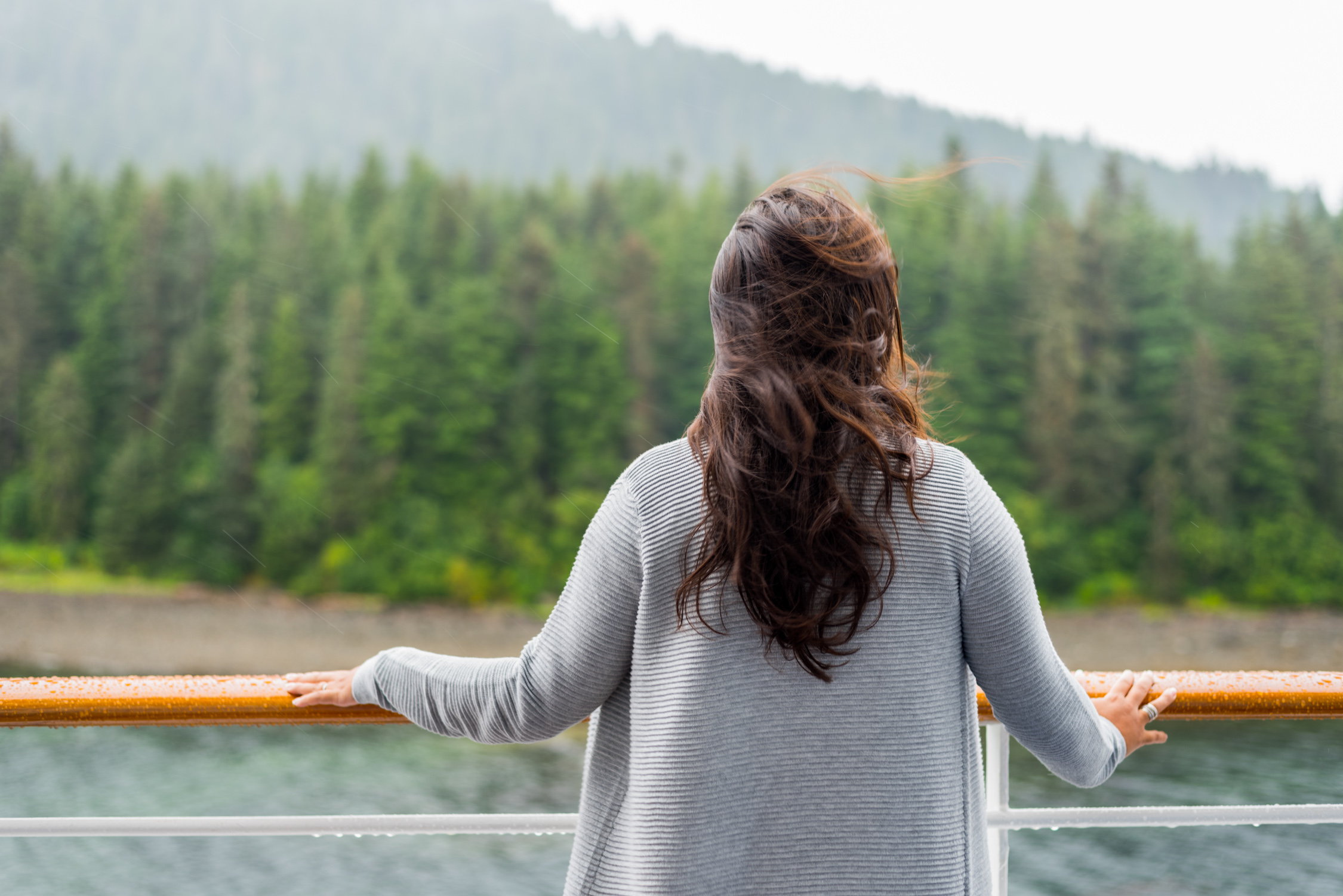 Looking over the balcony of our suite, aboard Crystal Serenity in Alaska