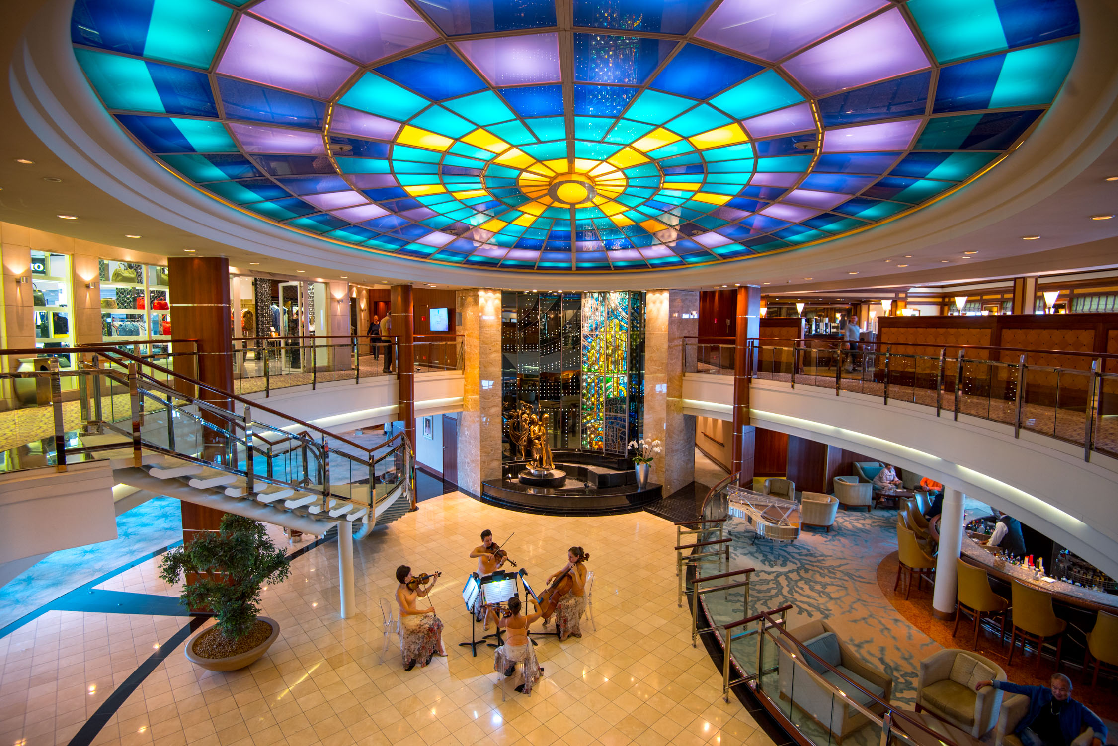 The lobby of Crystal Serenity, part of  Crystal Cruises