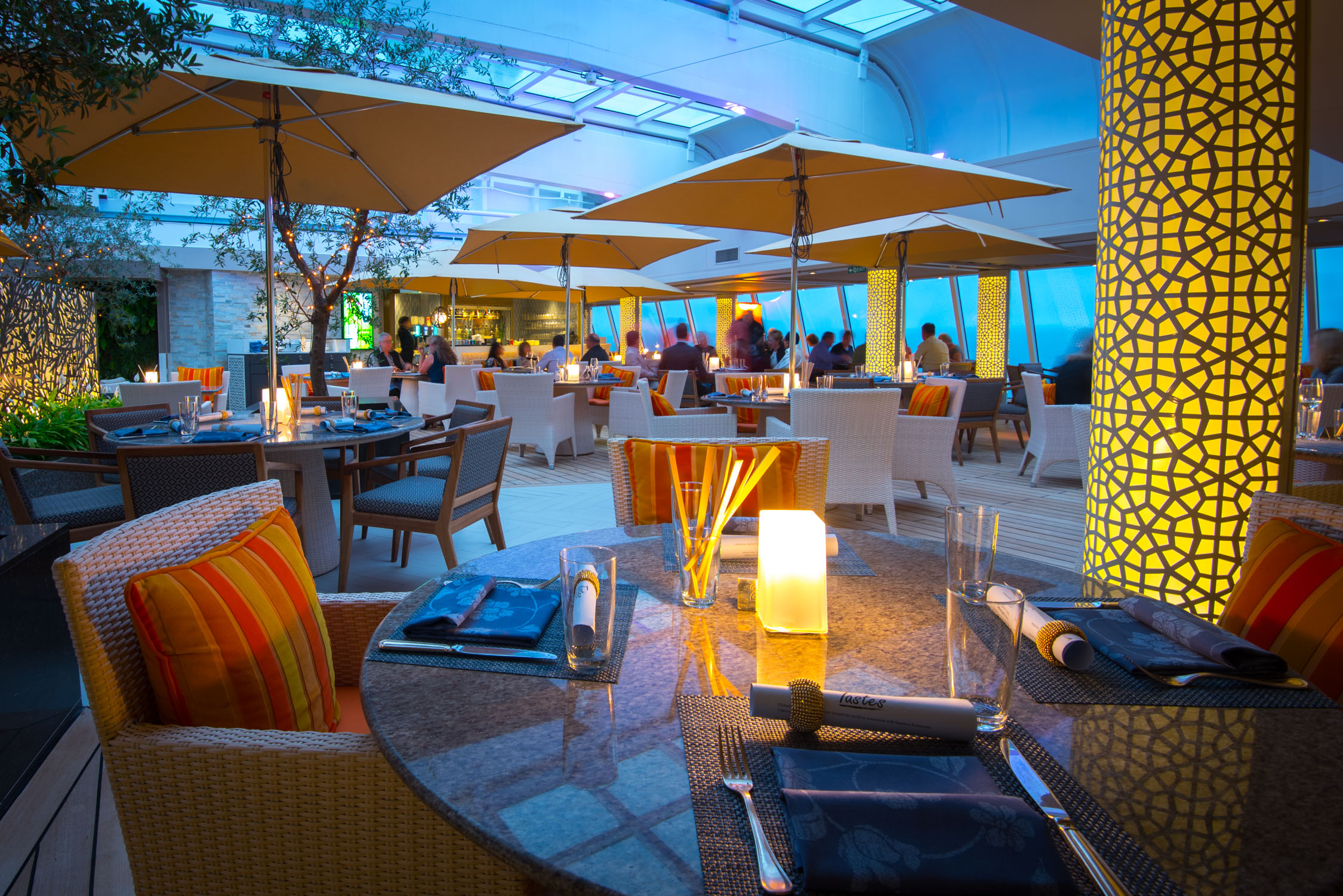 One of the common area where the Trident Grill, Tastes and Ben & Jerry's is, aboard Crystal Cruises