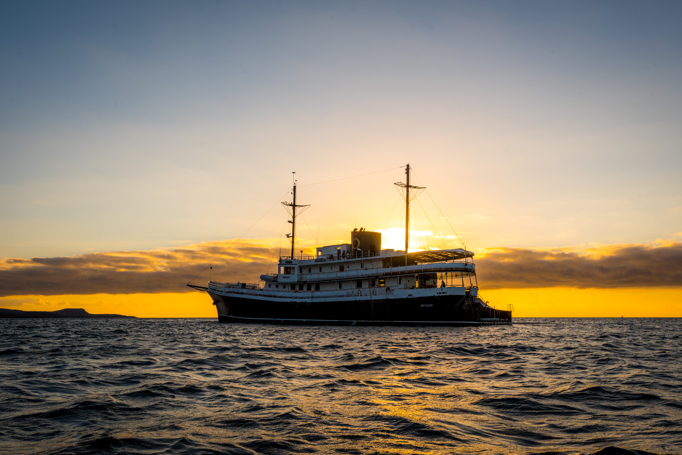The Evolution (part of Quasar Expeditions) anchored for the night