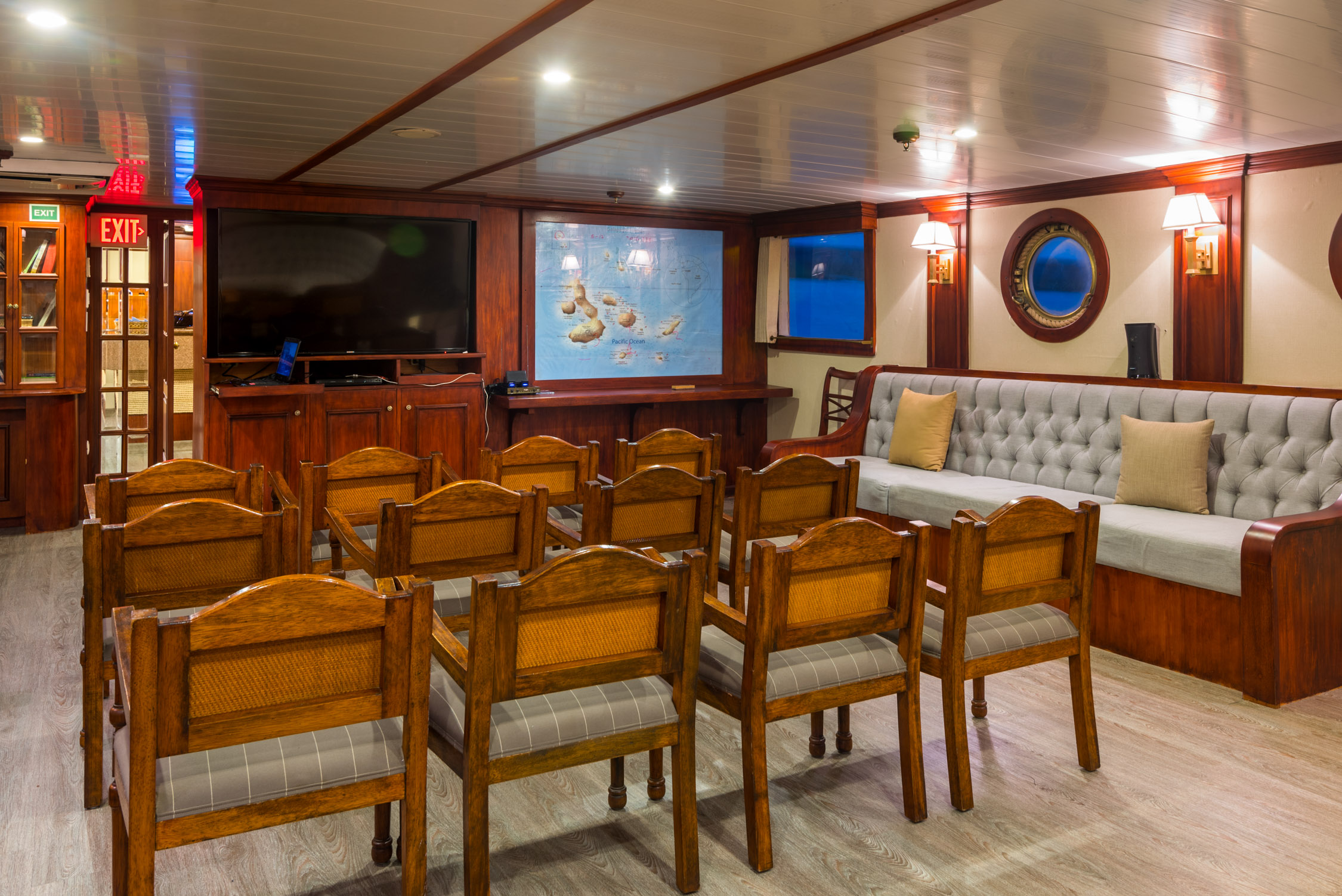 The main salon of the Evolution yacht. Our nightly briefings took place here, where we would listen to short and fascinating lectures about the islands, the animals and the history of the Galapagos