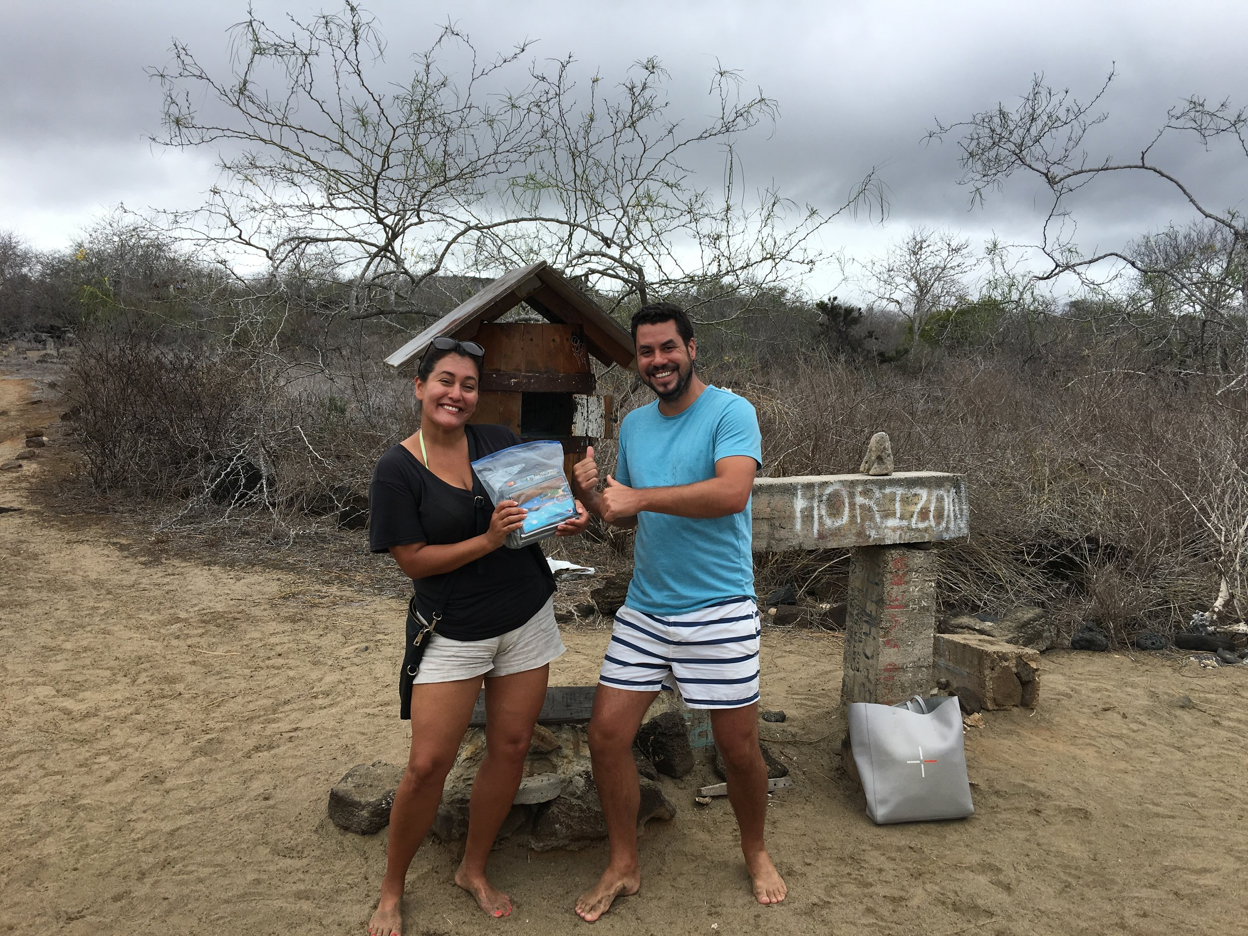 Droping off our postcards on Floreana Island
