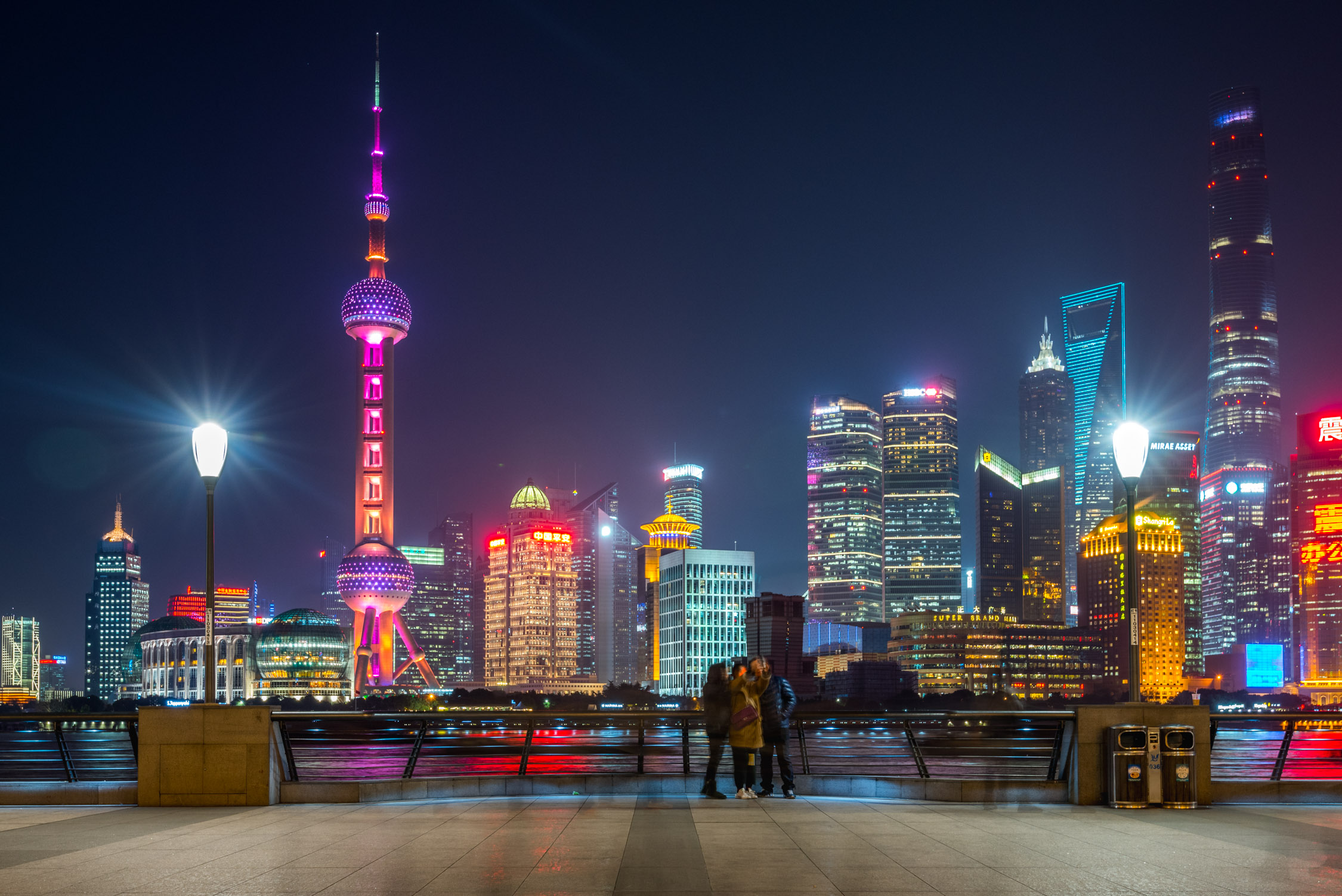 Looking out over the Pudong side of Shaghai, where the Kerry Hotel is located