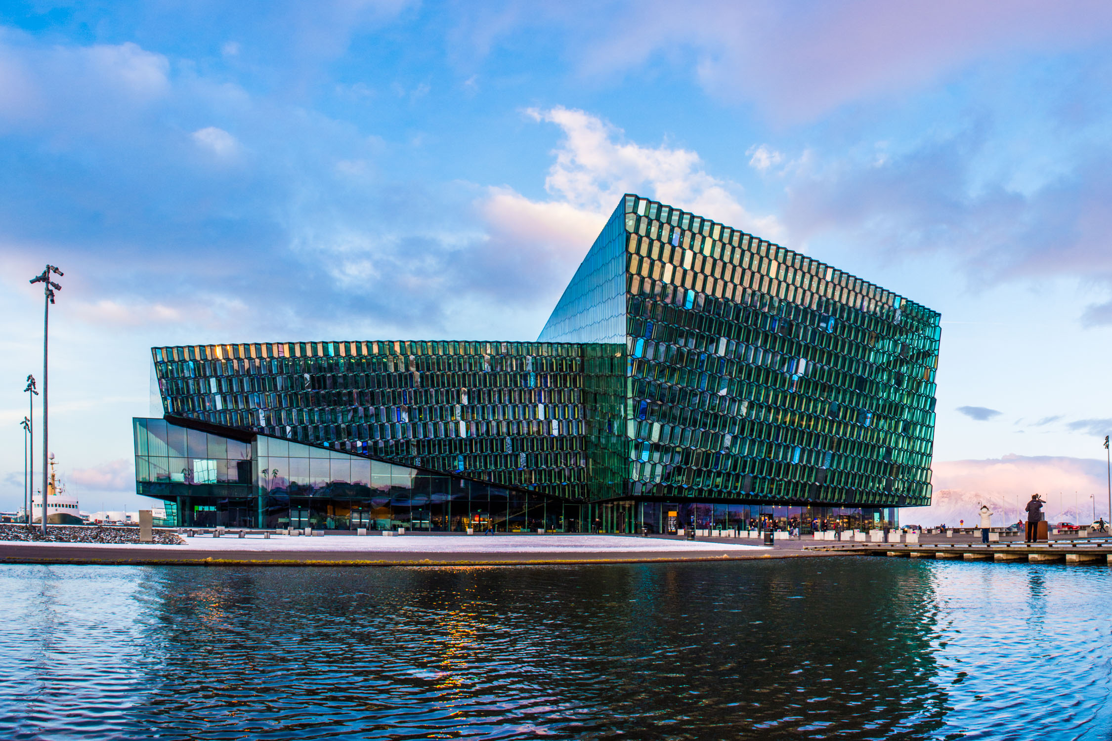 Kolabrautin is located on the top floor of the new HARPA concert hall in Reykjavik, Iceland.