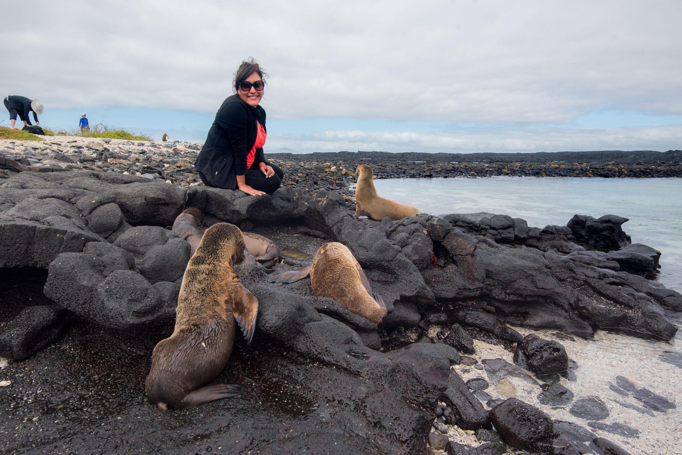 Danika making friends in the Galápagos Islands
