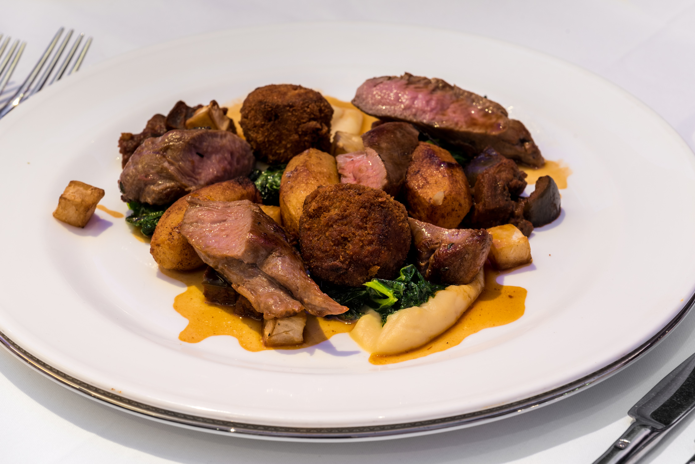 the duo of lamb with roasted celeriac and a rosemary jus