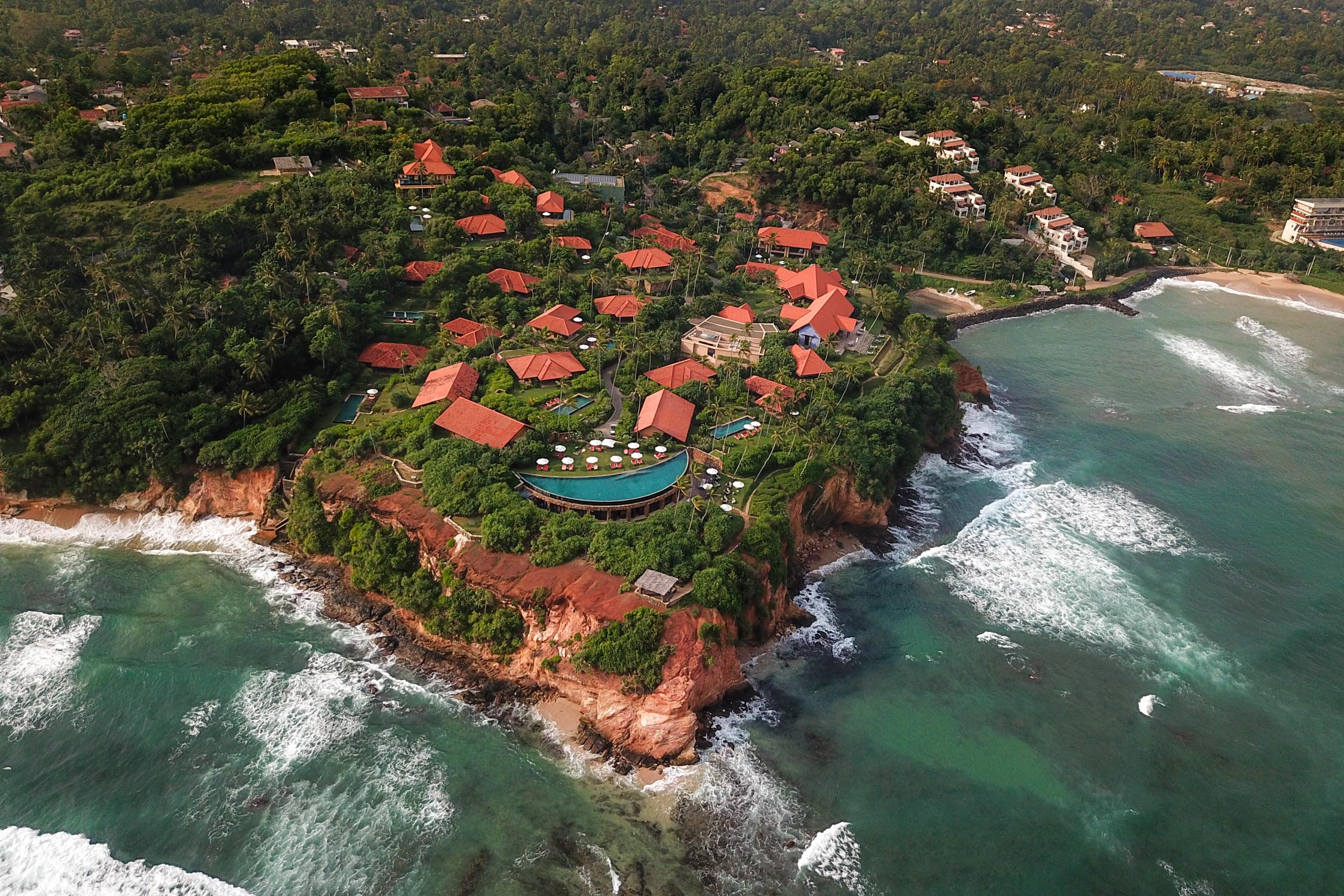Perched 100 feet above the Indian Ocean, Cape Weligama occupies a prime spot on Sri Lanka's dramatic southern coast