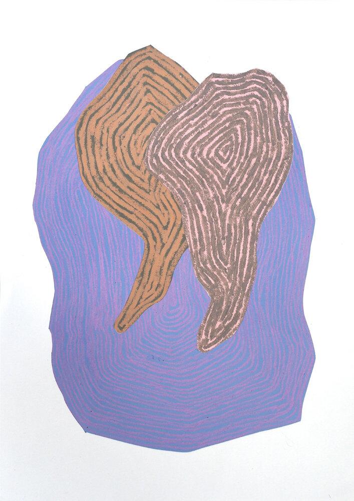 Fra naturen, Bekken III   Oljepastell 59 x 43 cm 2019