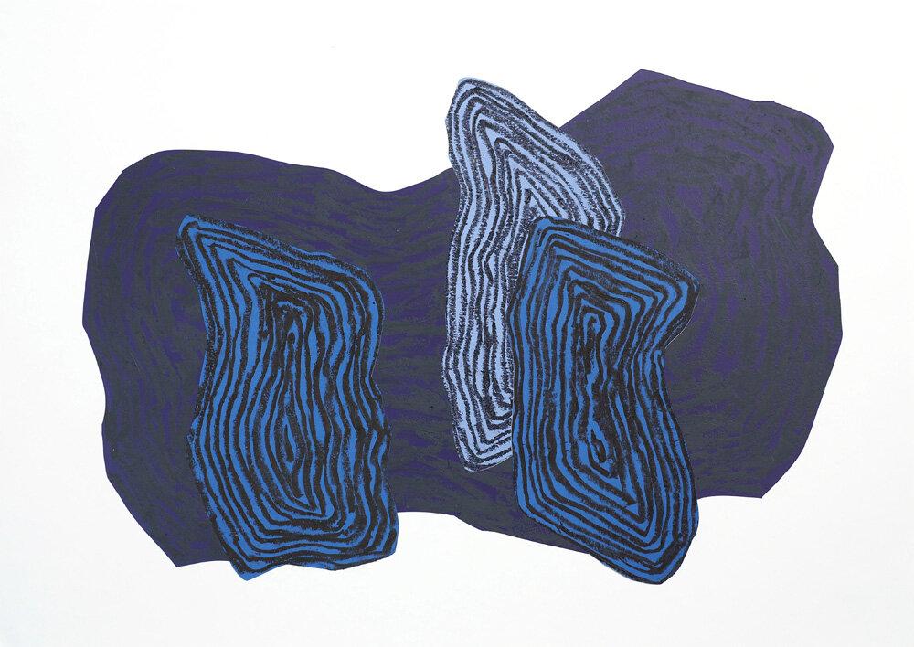 Fra naturen, Månenatt V   Oljepastell 43 x 59 cm 2018