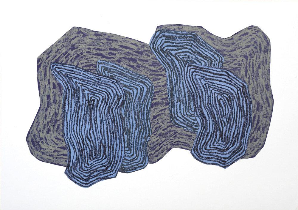 Fra naturen, Månenatt VI   Oljepastell 43 x 59 cm 2018