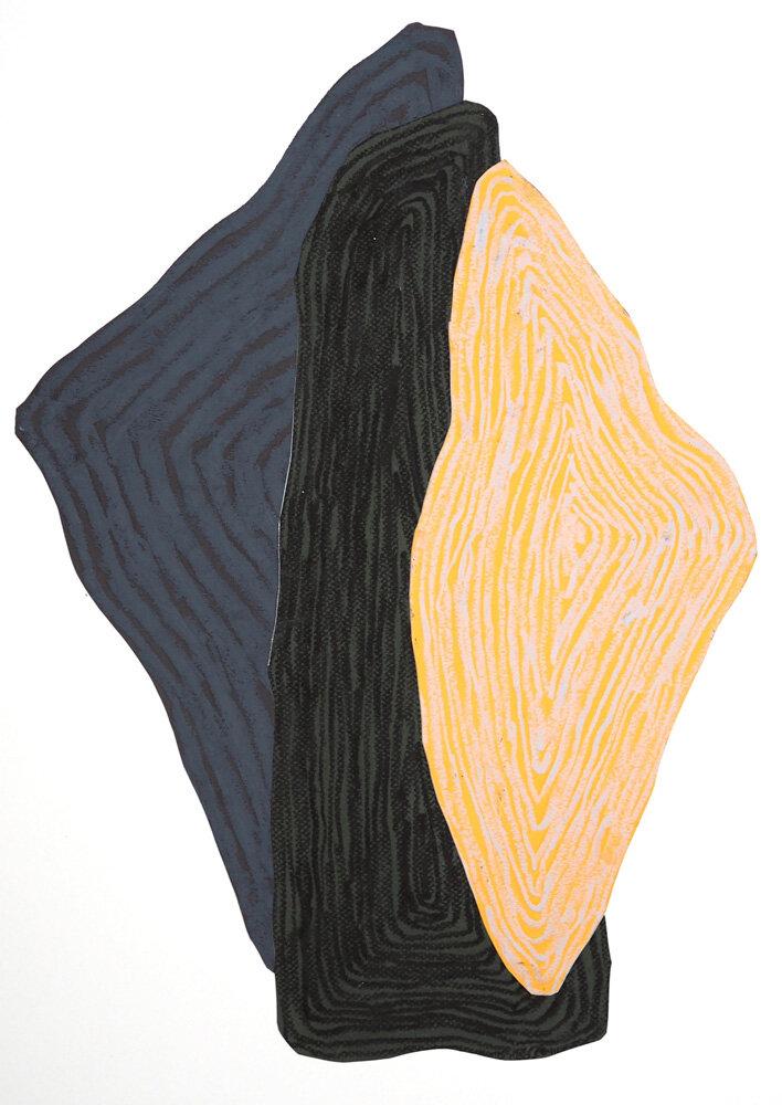 Fra naturen, Skog/klippe II   Oljepastell 59 x 43 cm 2019