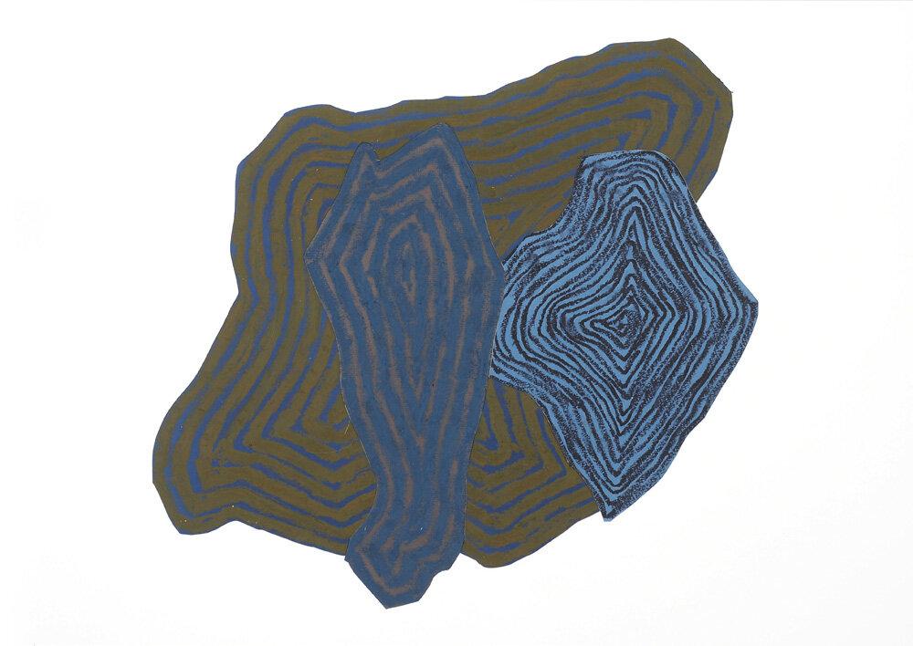 Fra naturen, Ved elven II   Oljepastell 43 x 59 cm 2018