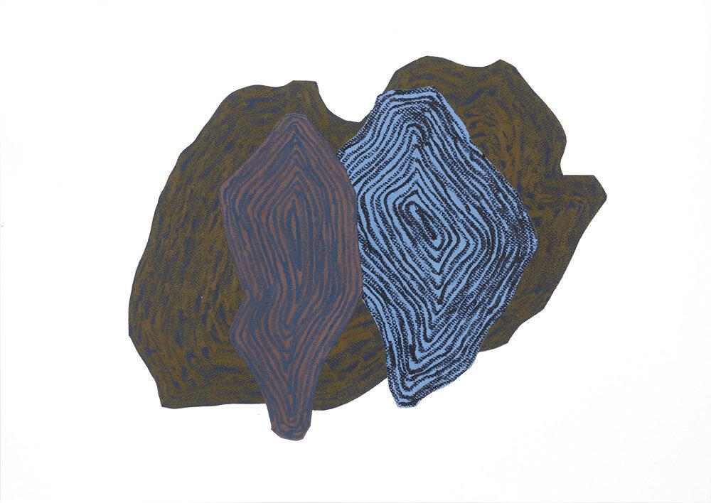 Fra naturen, Ved elven III   Oljepastell 43 x 59 cm 2018