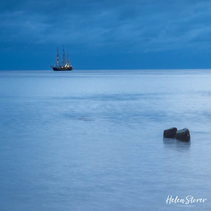 Norfolk's very own 45ft sailing Barge Juno at Blue Hour, Cromer, Norfolk
