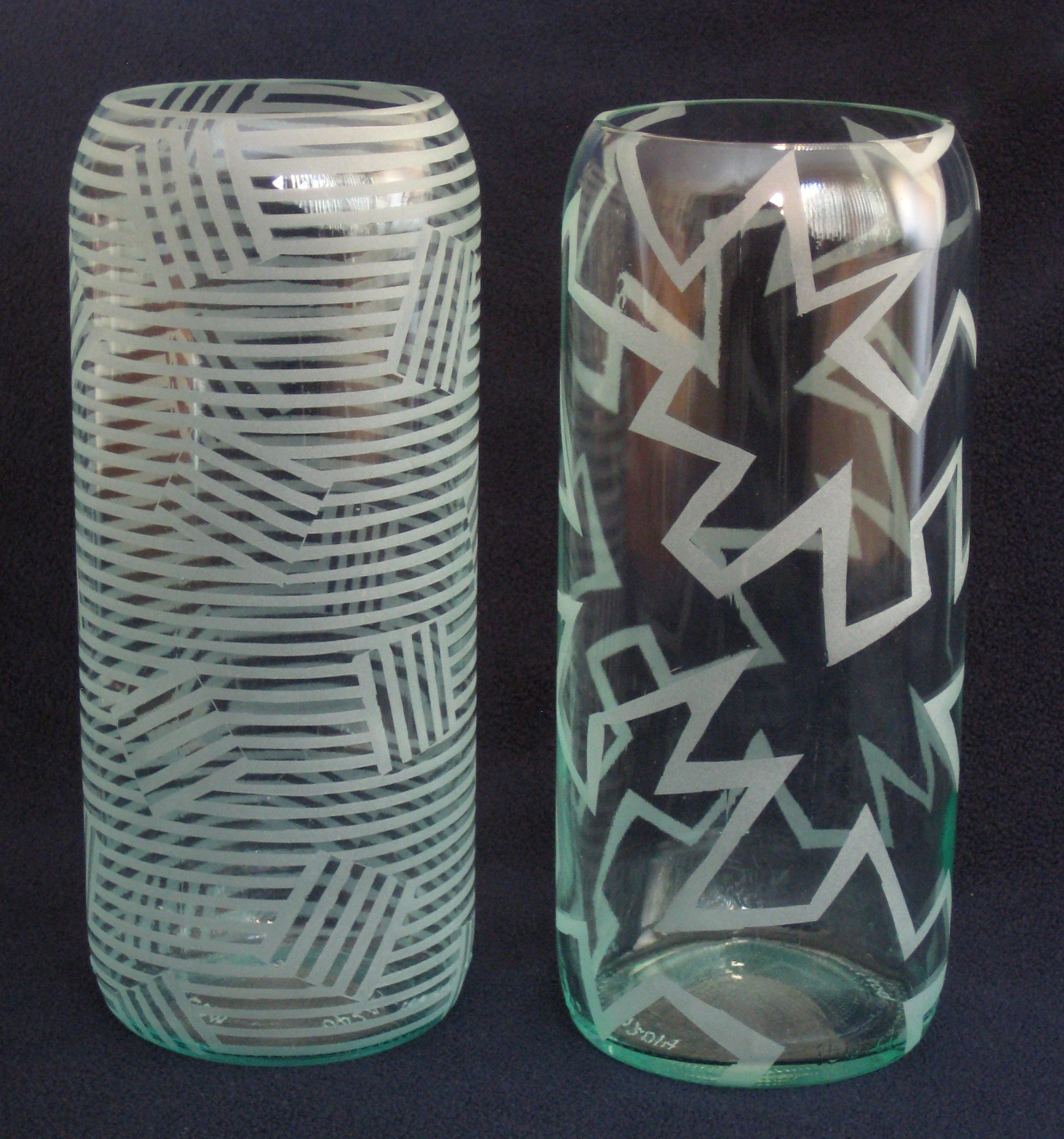 Stripy Tiles - Sold / Lightning Spiral - $60