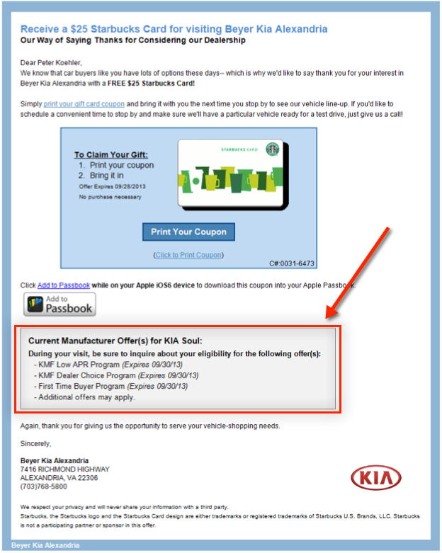 AIS Rebates in Confirmation Email