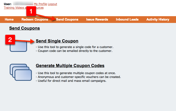 send single coupon