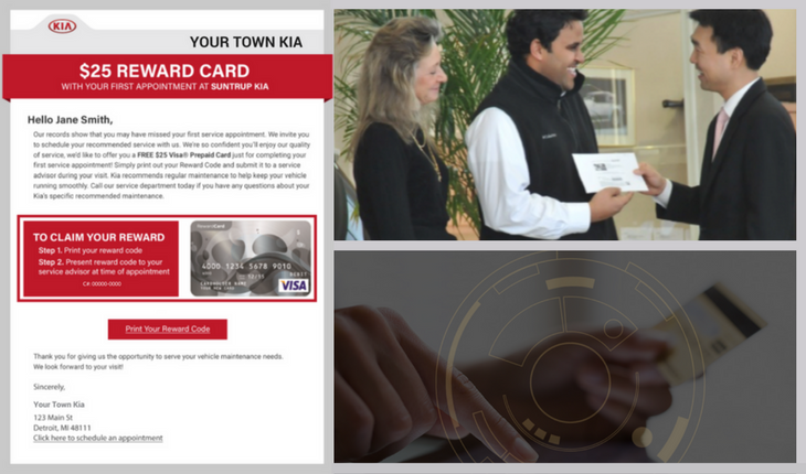 STEP 5: Customers visit your service department to redeem their incentive. A Service Advisor activates the customer's incentive using a unique 9 digit coupon code and AutoHook's easy 30-second redemption process. The customer instantly receives their Visa e-gift card while their vehicle is being serviced.