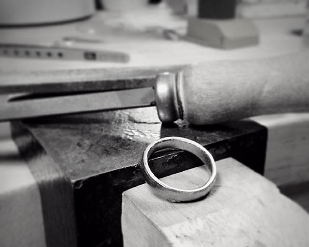 Wedding band on the bench