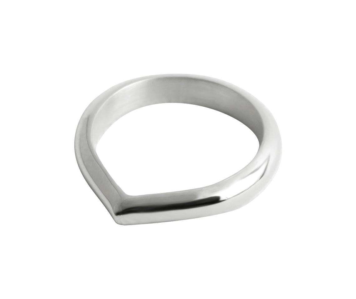 Rundet Toppen Ring — 18K Fairtrade White Gold