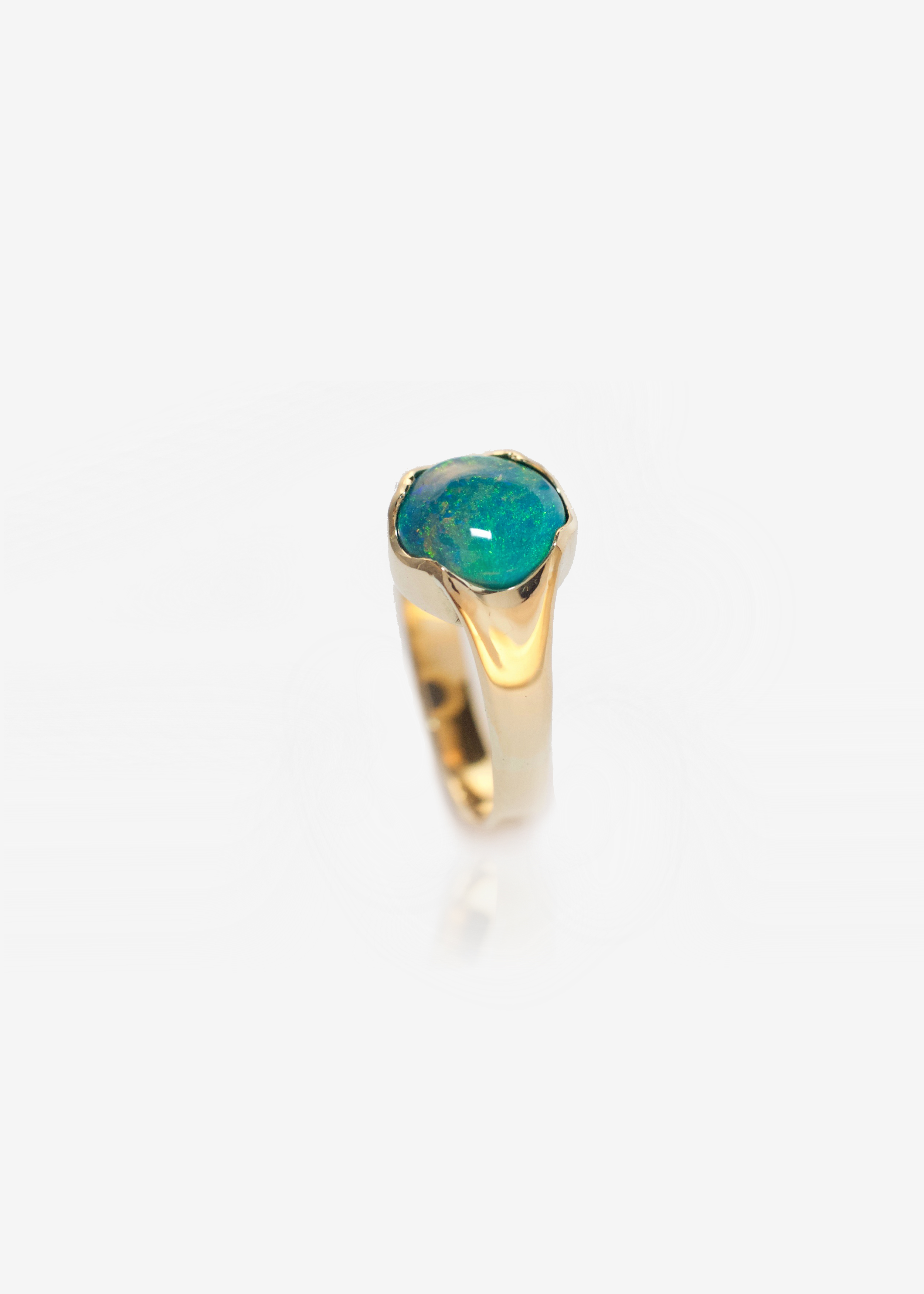 18K yellow gold Ecogold black opal engagement ring