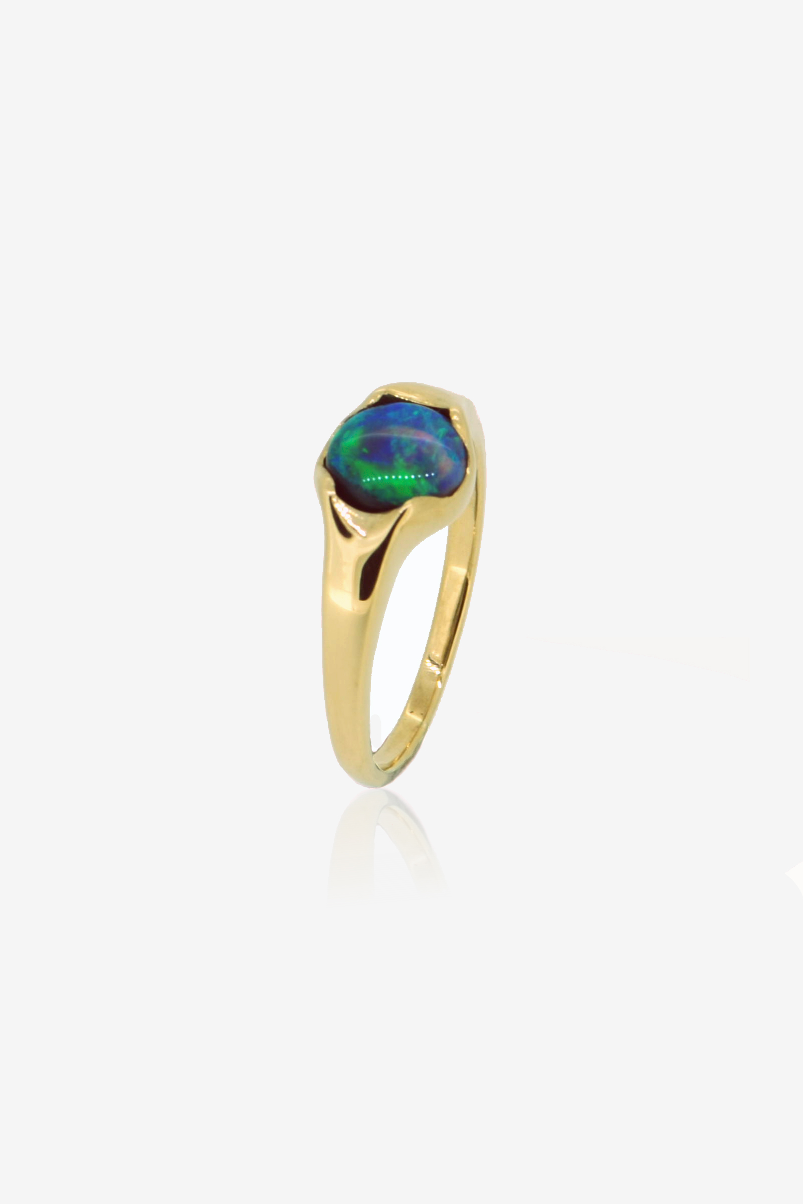 Black Opal and Fairmined Eco Gold ring