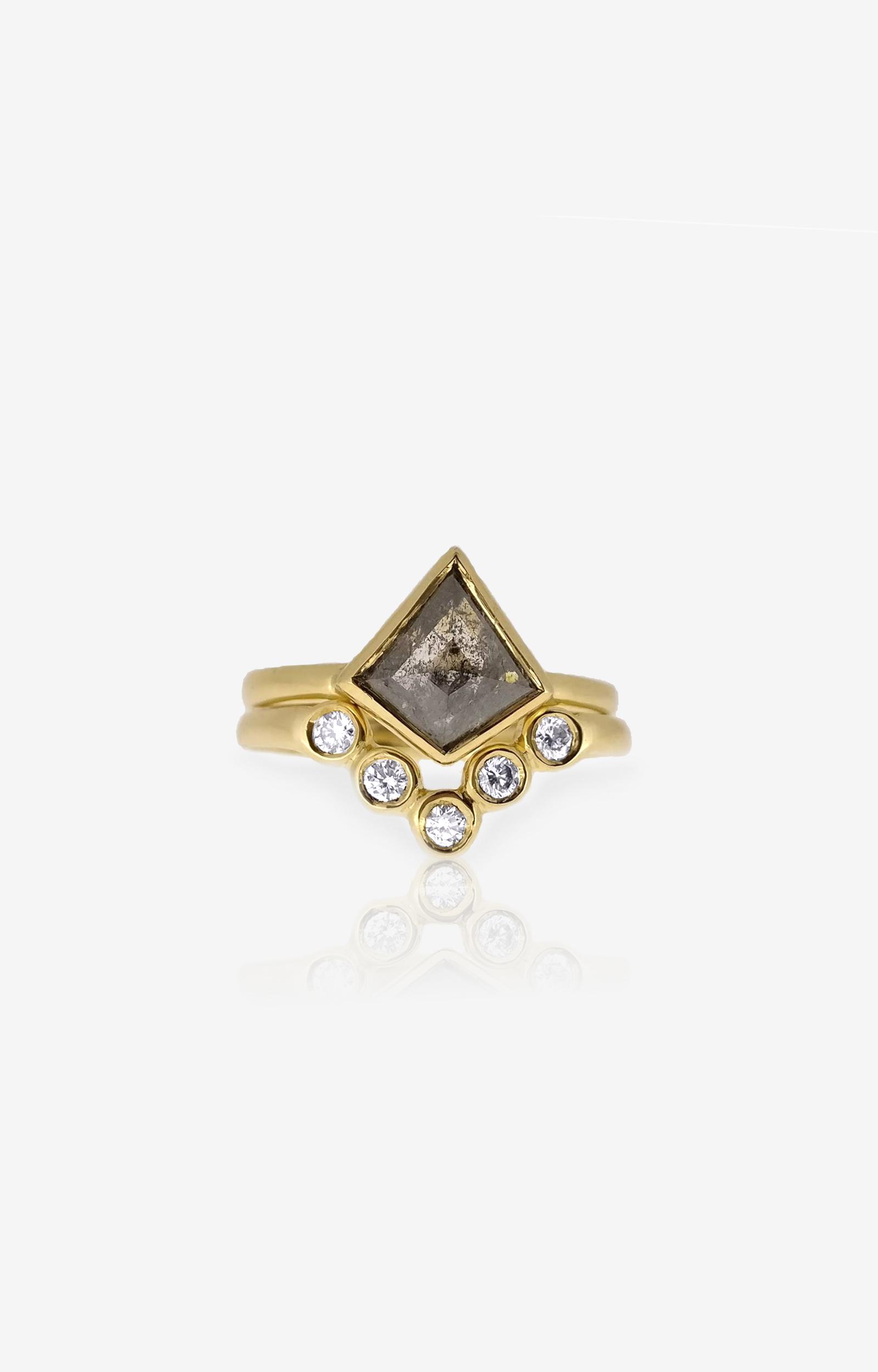Salt & pepper diamond engagement ring