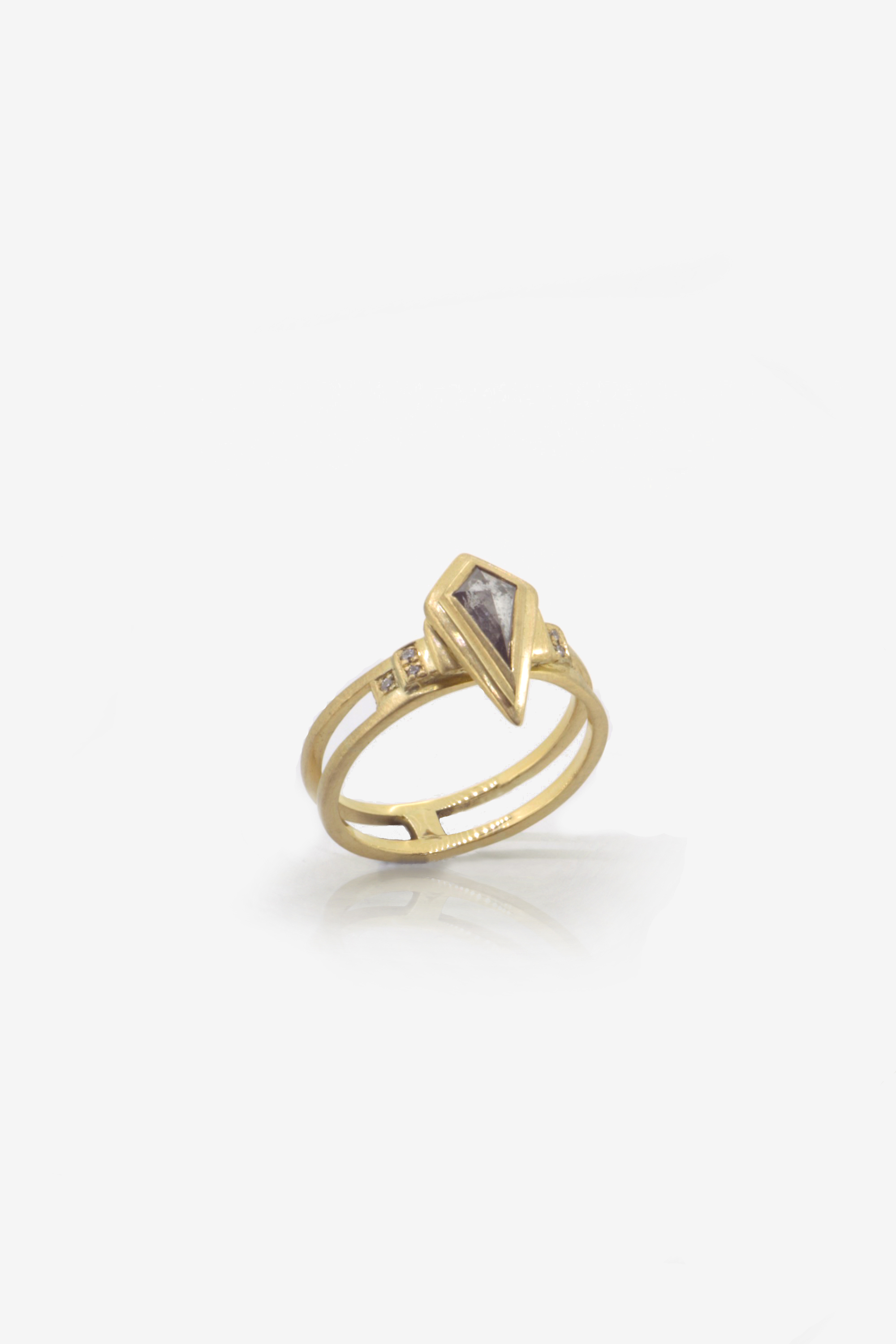 0.41ct Conflict free Salt Pepper diamond ring in Fairtrade gold