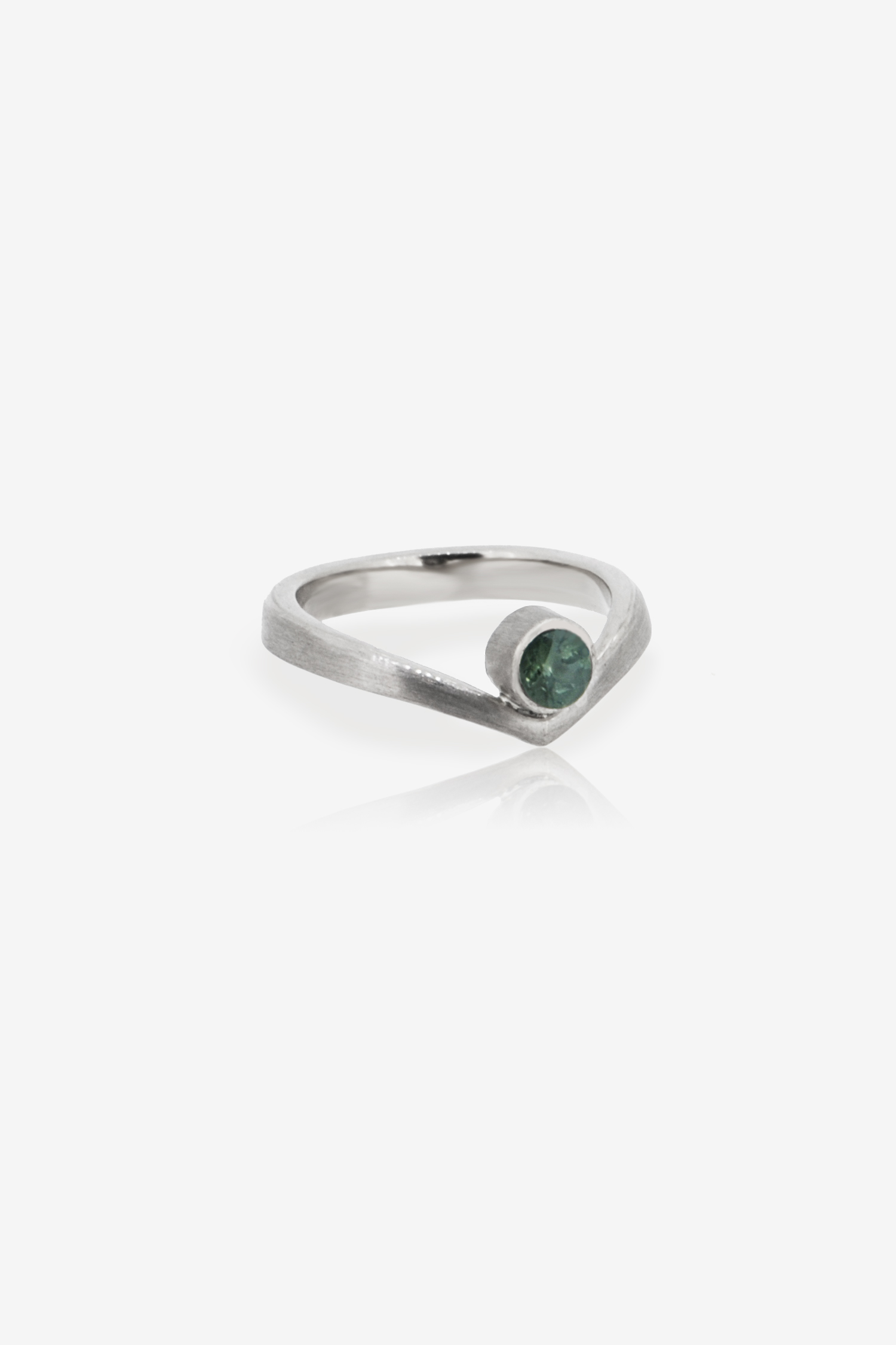 Ethically sourced green-blue Malawi Sapphire engagement ring