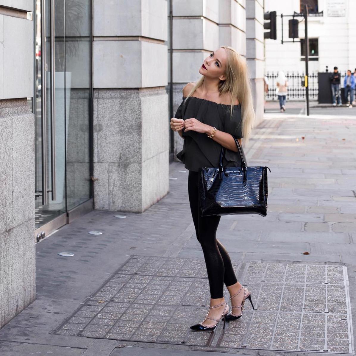 leather pants valentino rockstud high heels khaki off shoulder top