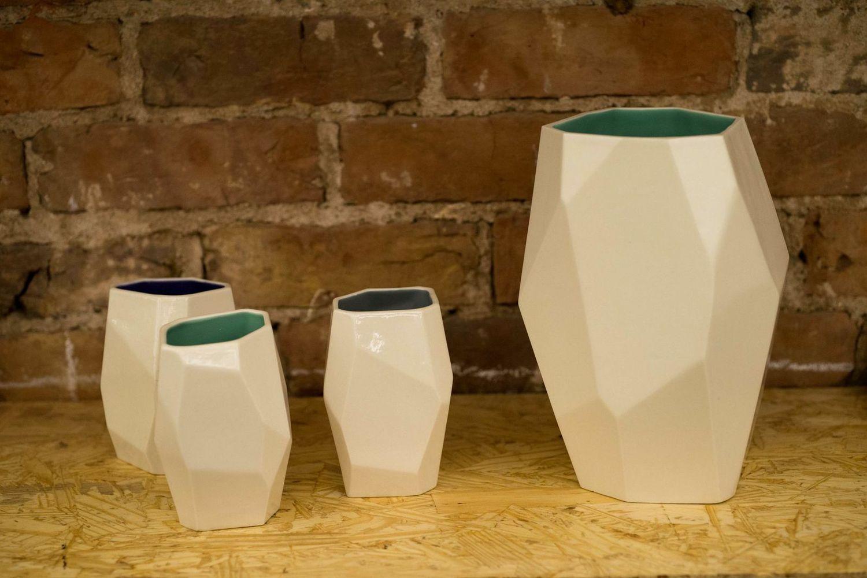 Faceted Vessel  multi-faceted porcelain vessels .