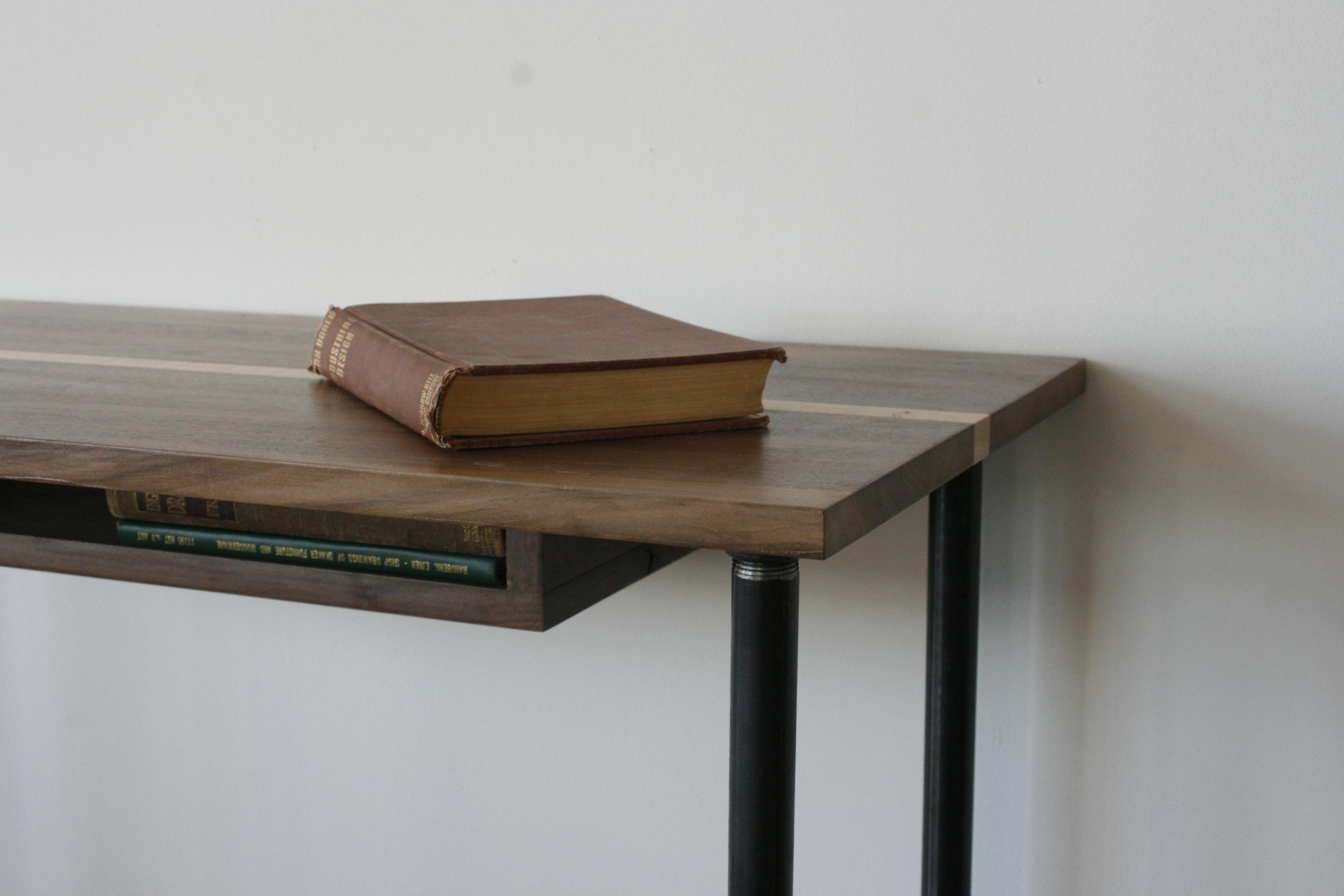 Bøulder Desk    Writers desk, American black walnut & Curly Maple