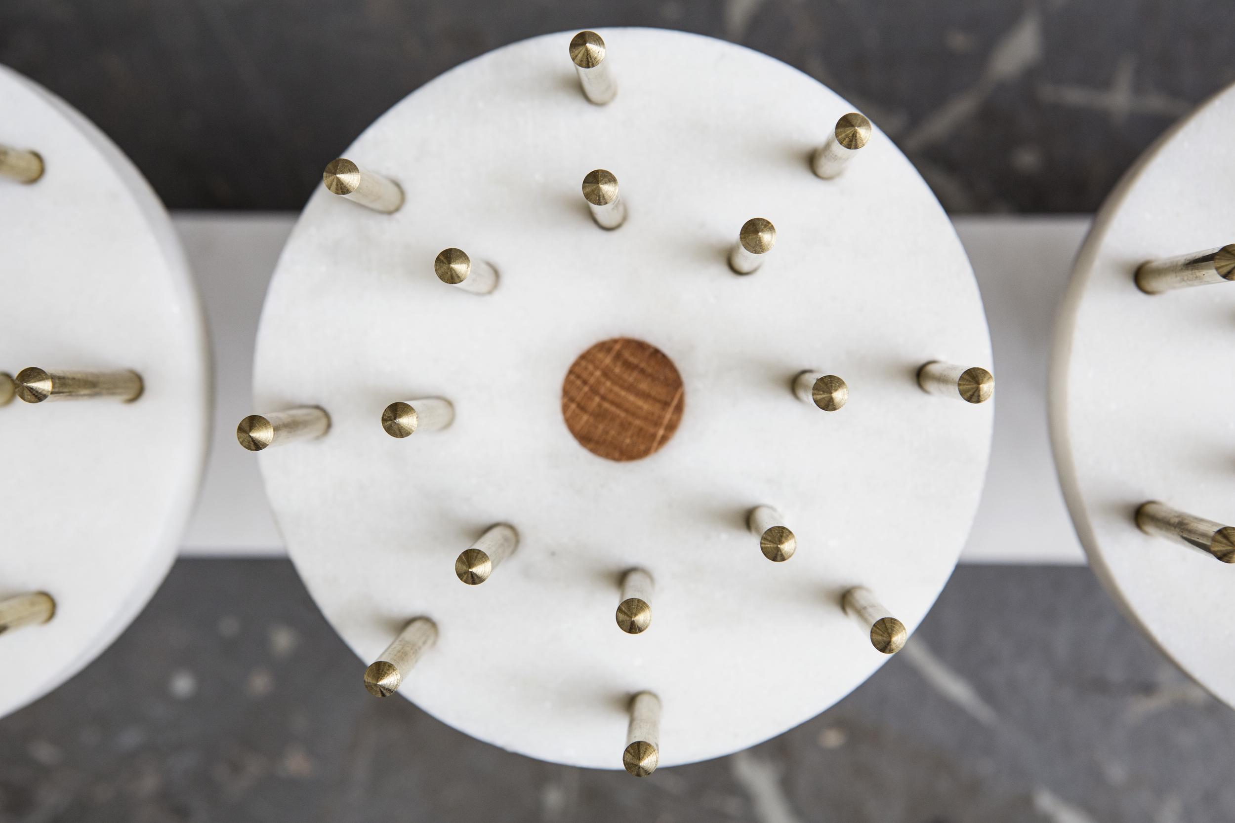 Torch | Hors d'oeuvre Platter   White Carrara Marble | Oak | Brass